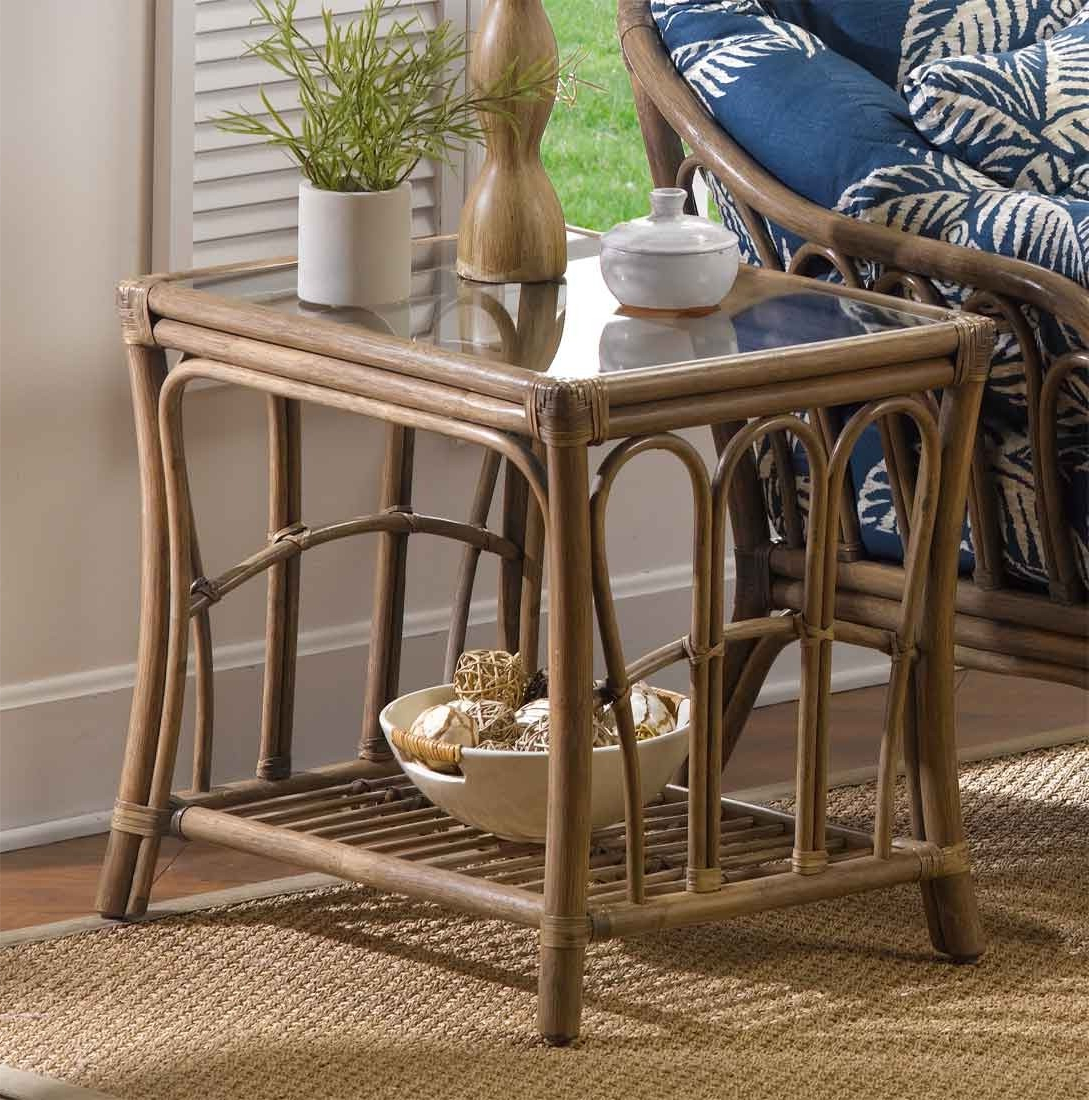 Bimini Natural Rattan Rectangular End Table Within Natural Cane Media Console Tables (View 5 of 20)