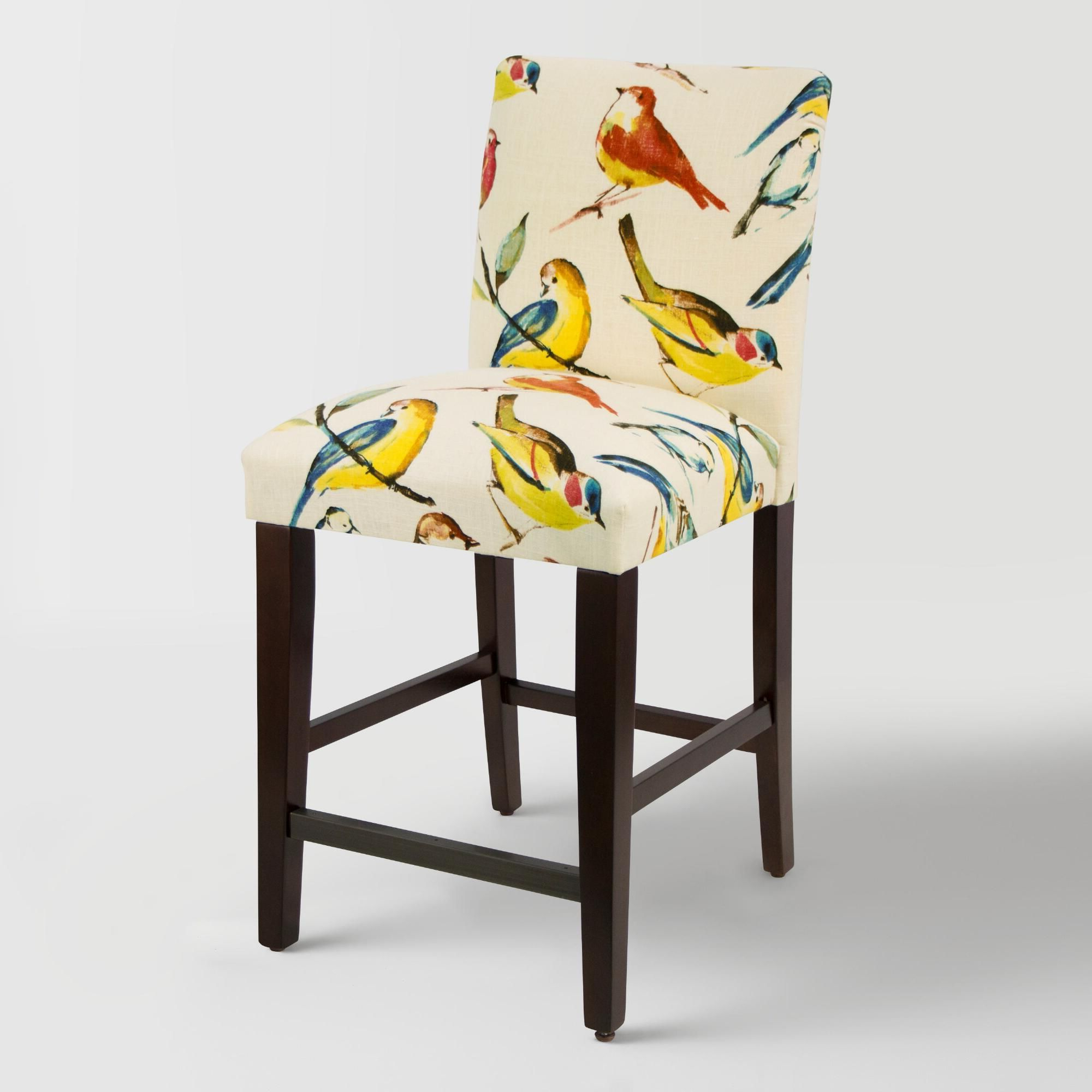 Bird Watcher Kerri Upholstered Counter Stool: Multi – Fabric Pertaining To Parsons White Marble Top & Elm Base 48x16 Console Tables (View 20 of 20)