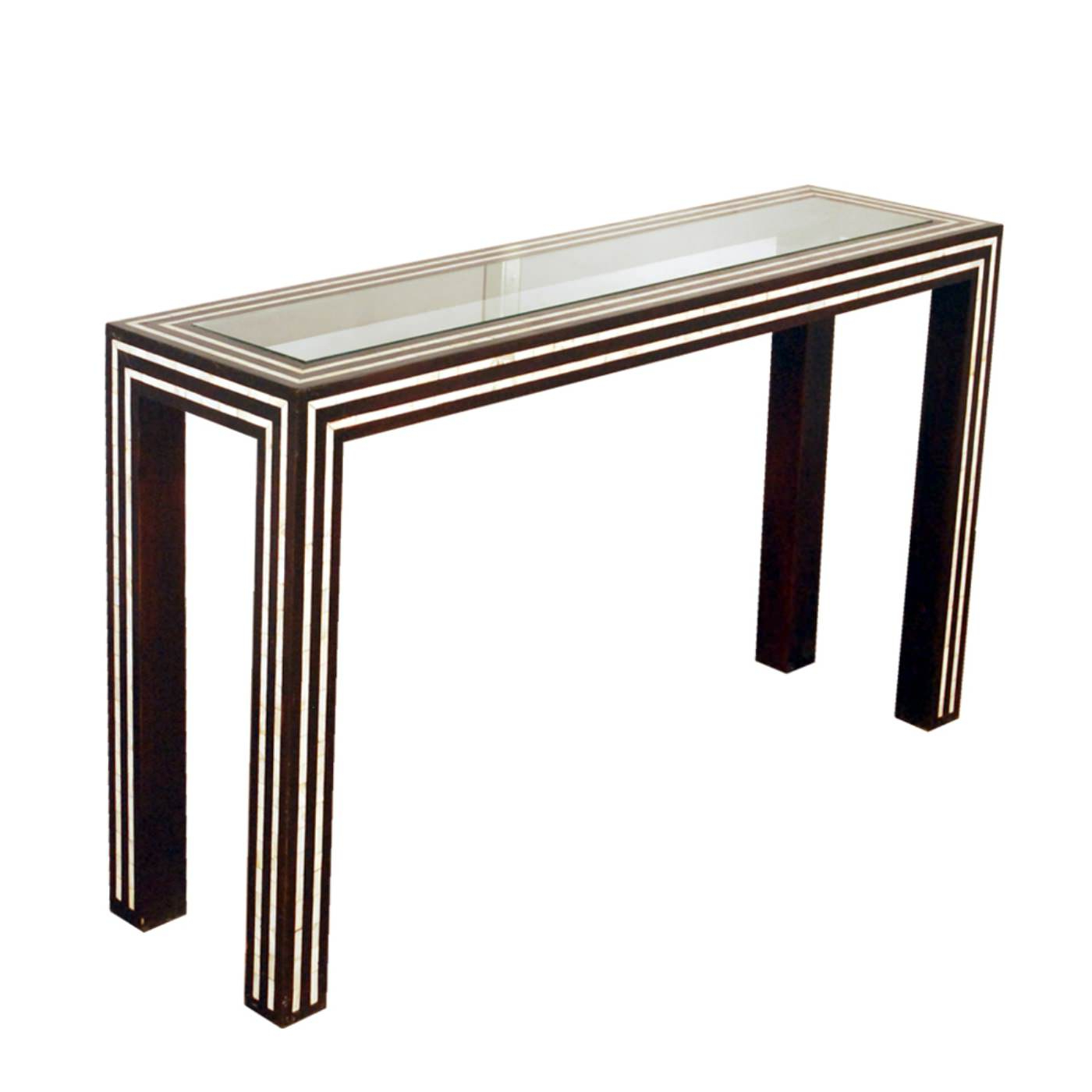 Black And White Pearl Inlay Console: Glass And Inlay Console Table For Black And White Inlay Console Tables (View 4 of 20)