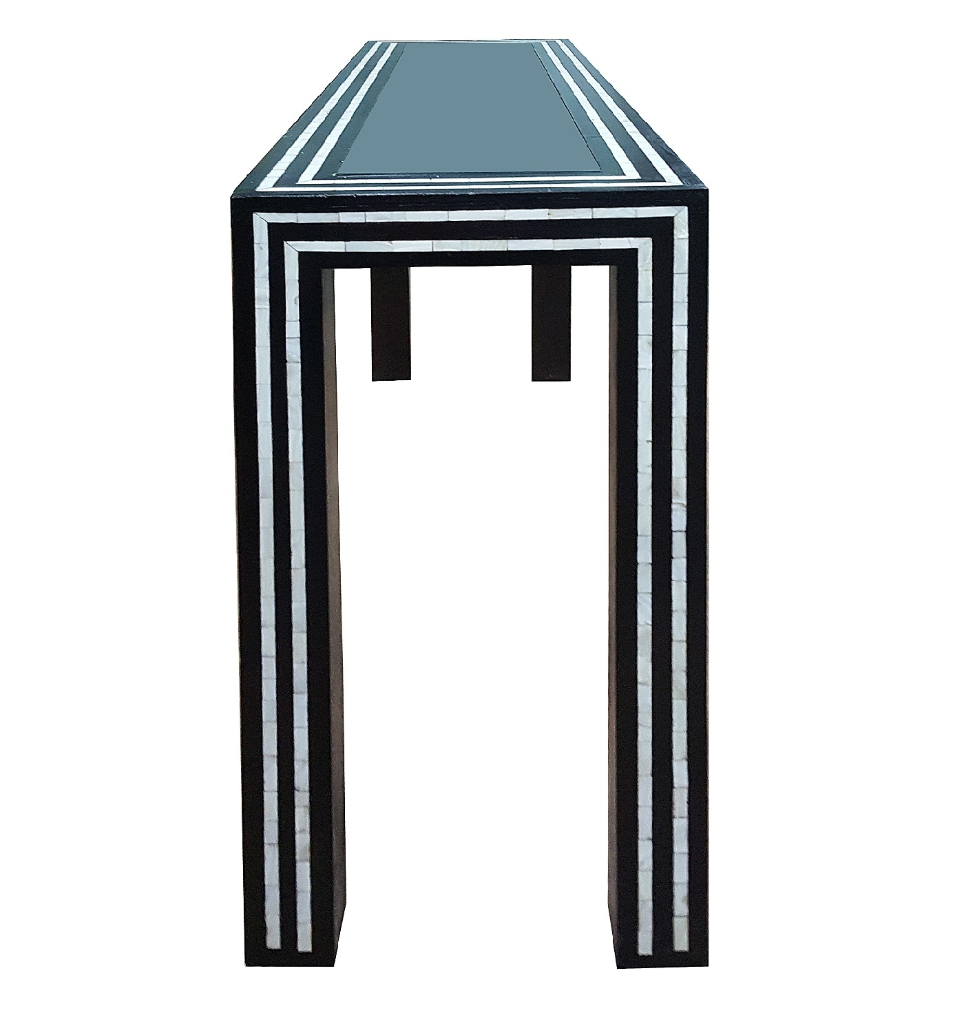 Black And White Pearl Inlay Console: Glass And Inlay Console Table With Regard To Black And White Inlay Console Tables (View 12 of 20)