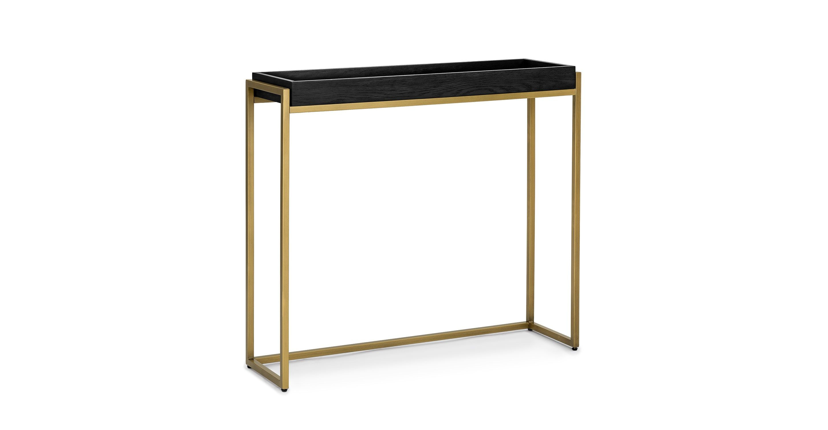 Black Console Table, Brass Legs | Article Oscuro Modern Furniture Regarding Remi Console Tables (View 2 of 20)