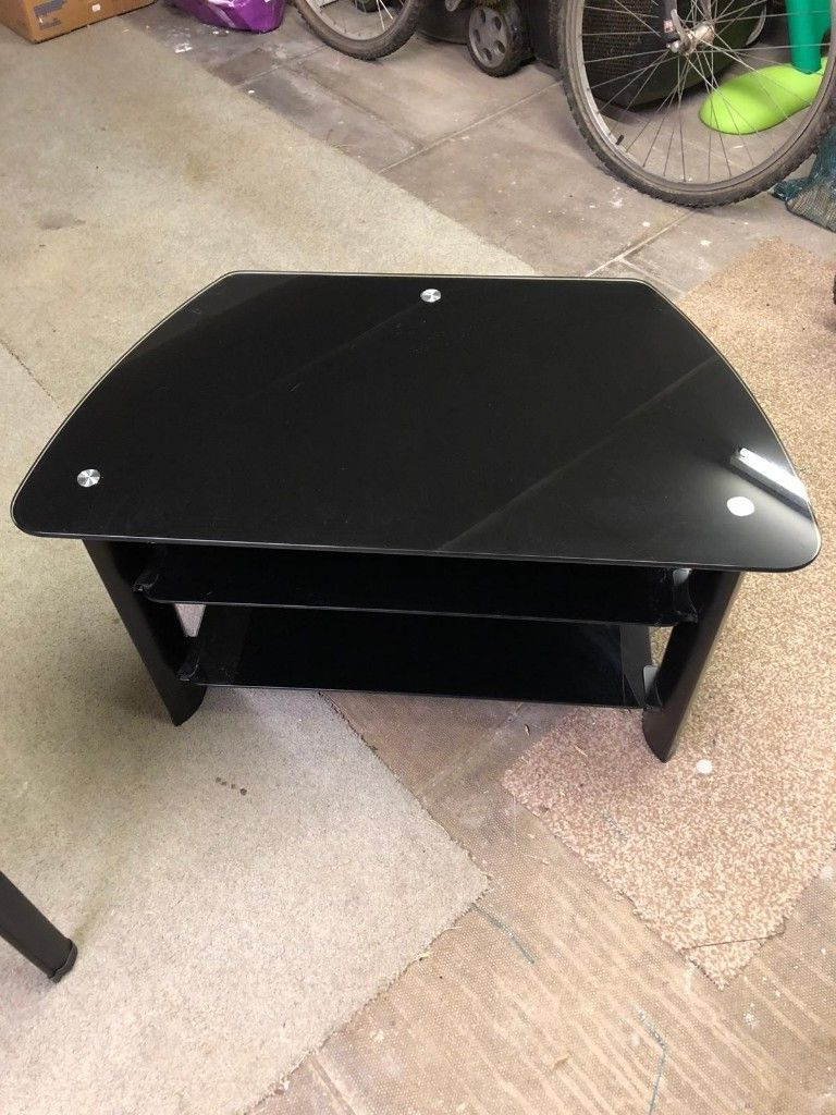 Black Glass Two Tier Tv Stand/cabinet | In Wakefield, West Yorkshire Regarding Wakefield 97 Inch Tv Stands (View 13 of 20)