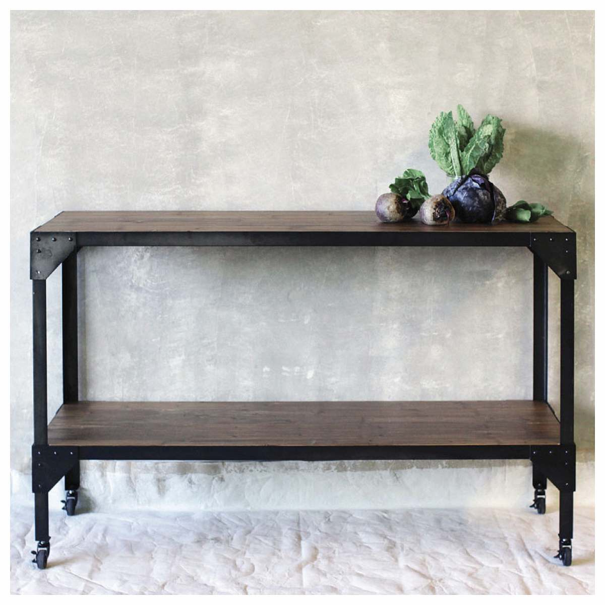 Black Metal Frame Rectangle Console Table With Solid Wood Extending Throughout Frame Console Tables (View 5 of 20)