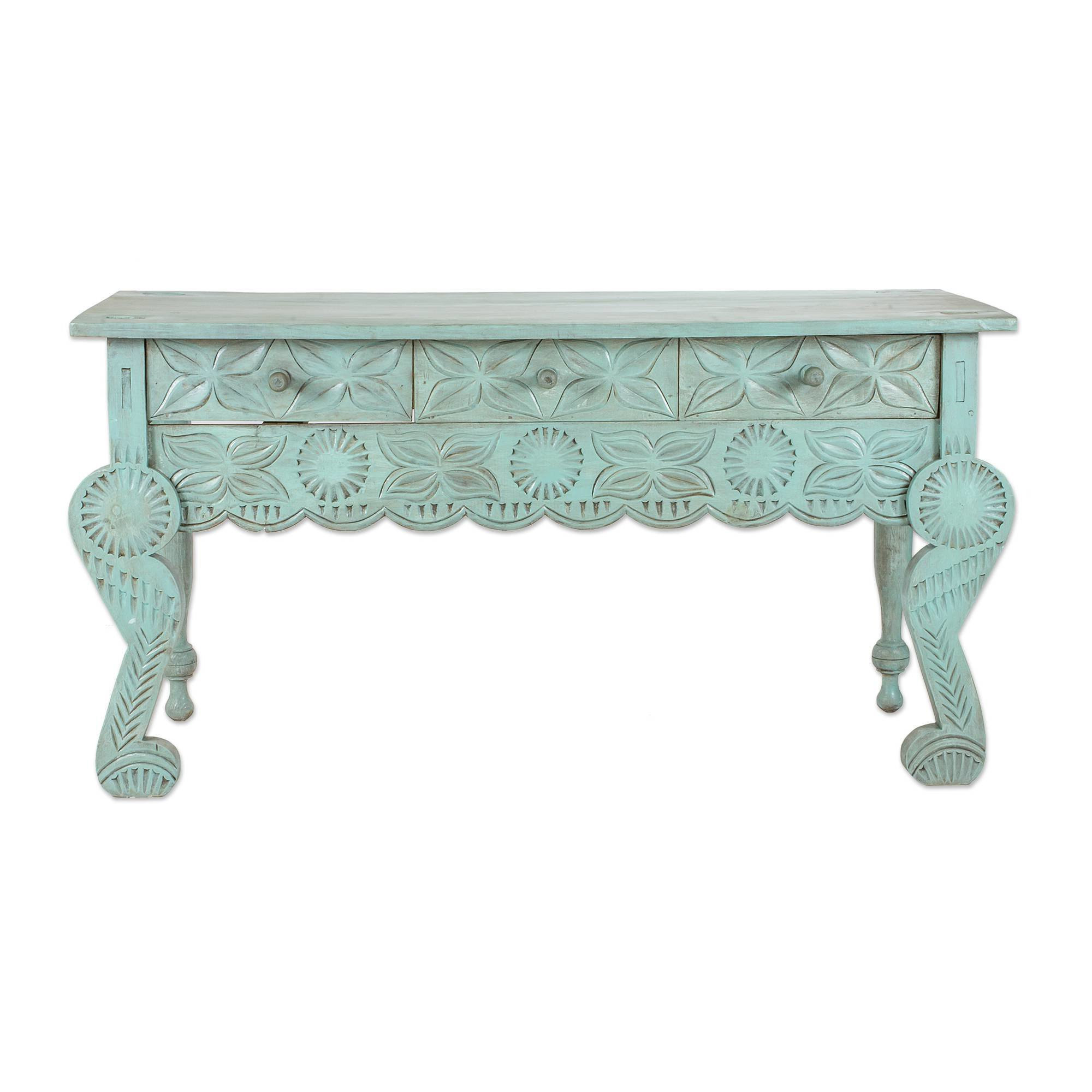 Bloomsbury Market Liddel Elegant Patina Wood Console Table | Wayfair Pertaining To Mix Patina Metal Frame Console Tables (View 16 of 20)