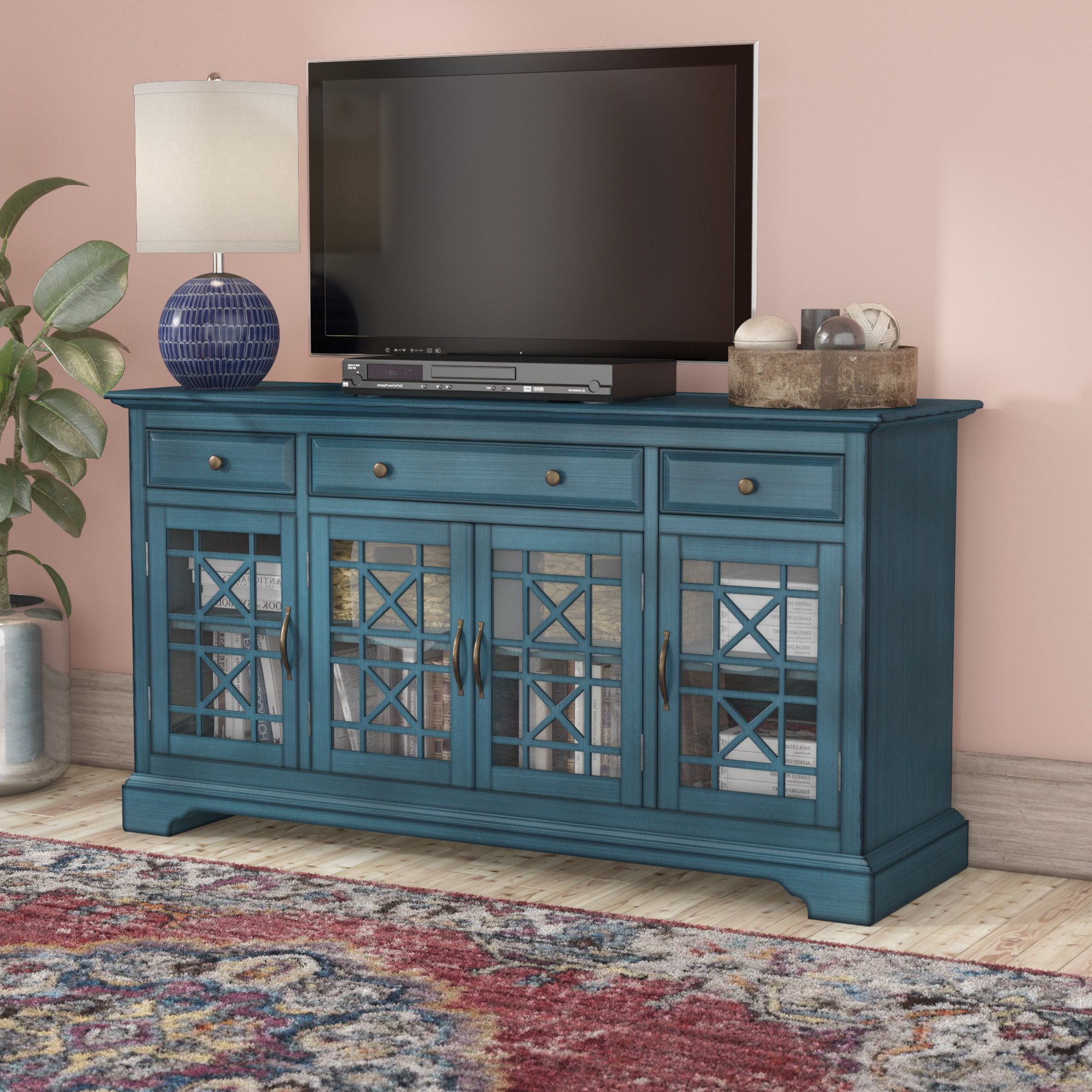 Blue Tv Stands You'll Love | Wayfair In Century Sky 60 Inch Tv Stands (View 16 of 20)