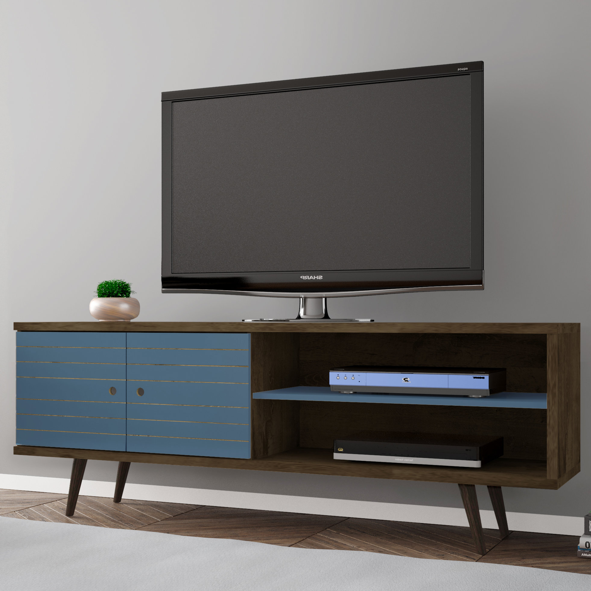 Blue Tv Stands You'll Love | Wayfair Within Century Sky 60 Inch Tv Stands (View 5 of 20)
