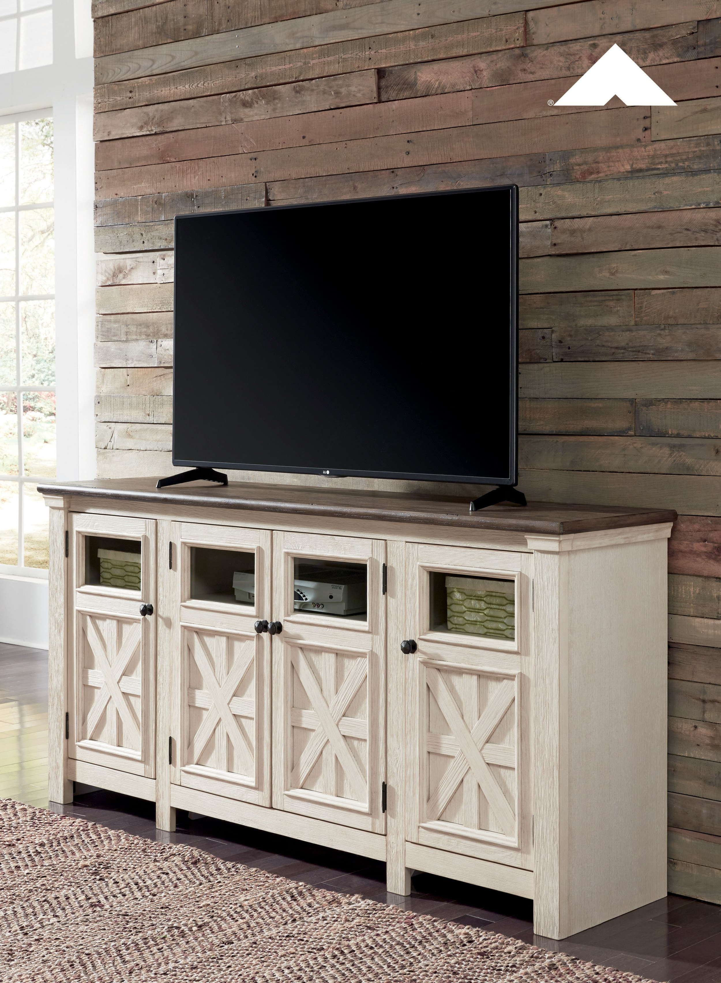 Bolanburg Two Tone Antique White And Weathered Oak Extra Large Tv Regarding Willa 80 Inch Tv Stands (View 2 of 20)