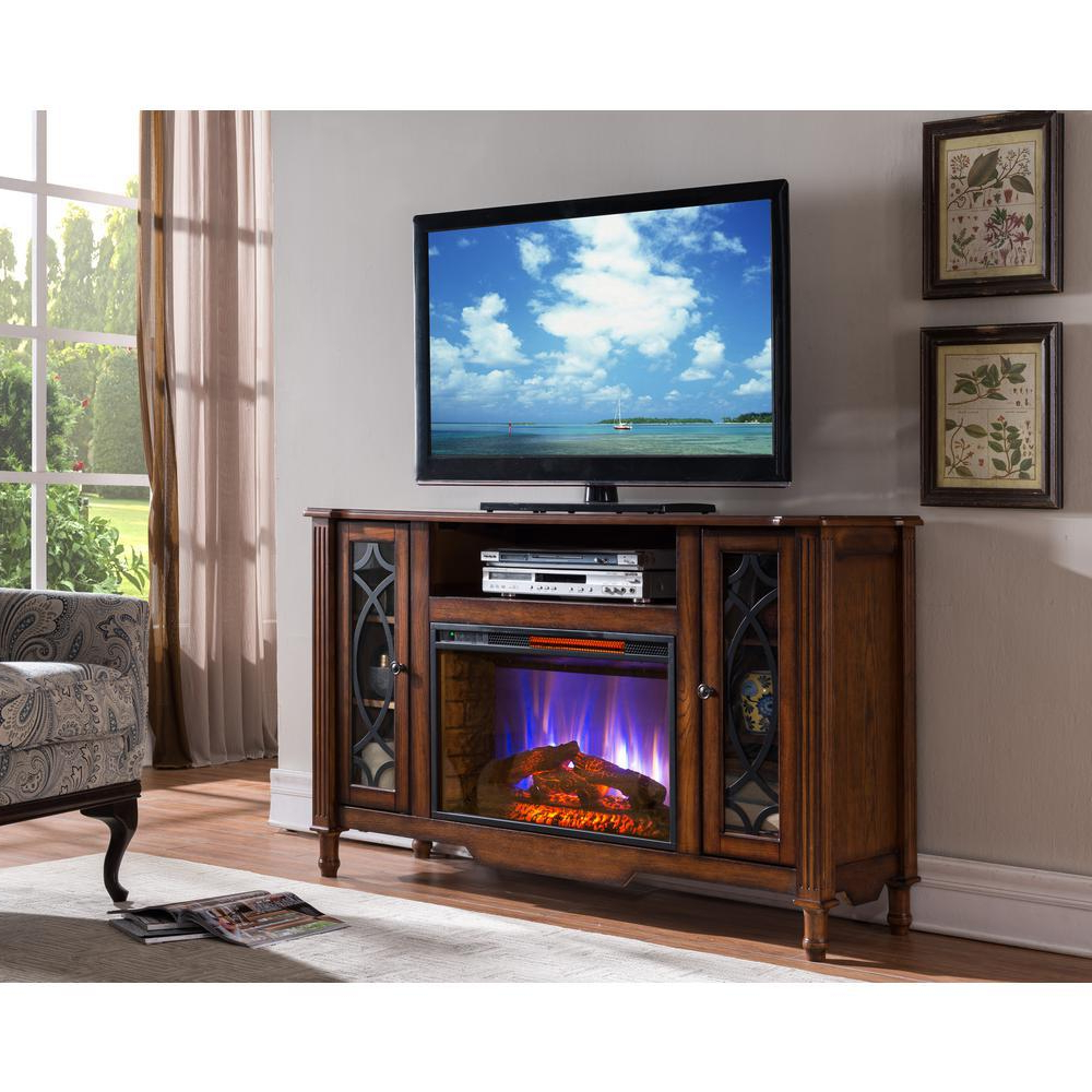 Bold Flame Valencia 55 In. Media Console Electric Fireplace Tv Stand With Canyon 54 Inch Tv Stands (Gallery 9 of 20)