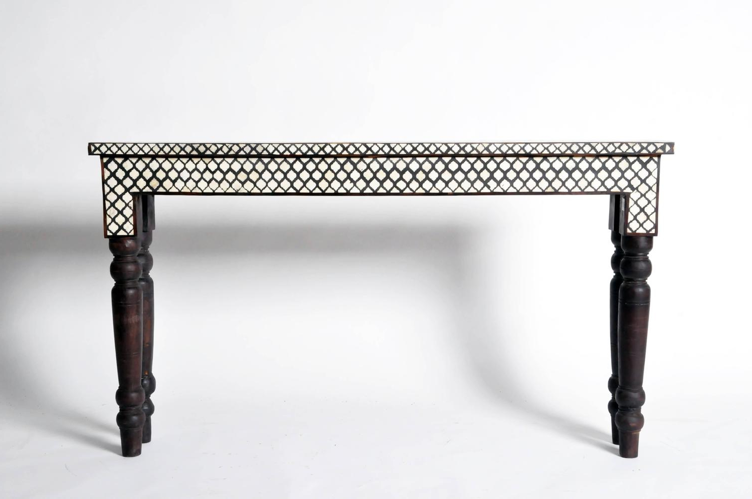 Bone Inlaid Console Table For Sale At 1Stdibs Console Table With With Black And White Inlay Console Tables (View 5 of 20)