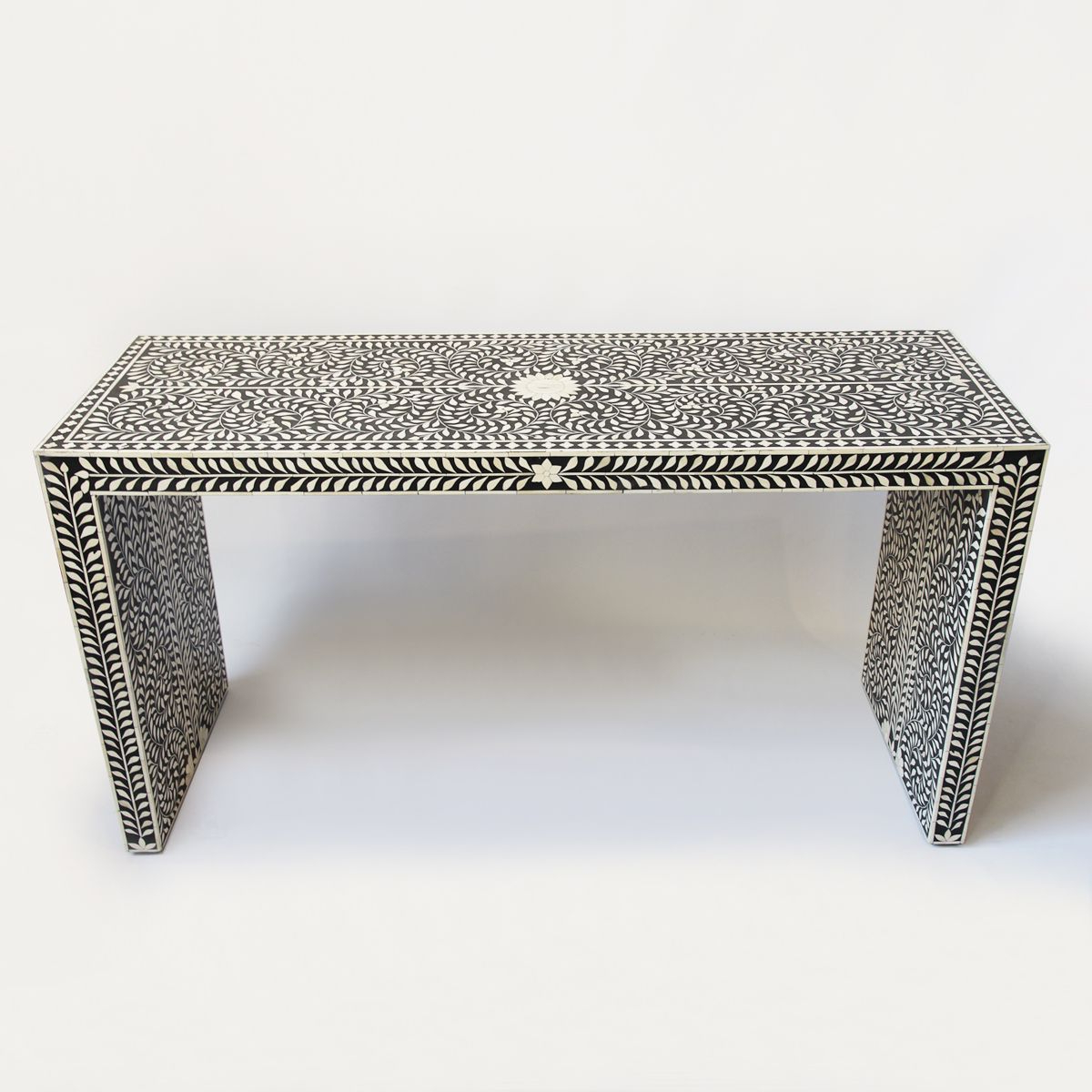 Bone Inlay Black And White Waterfall Console Table. Beautiful Intended For Black And White Inlay Console Tables (Gallery 16 of 20)