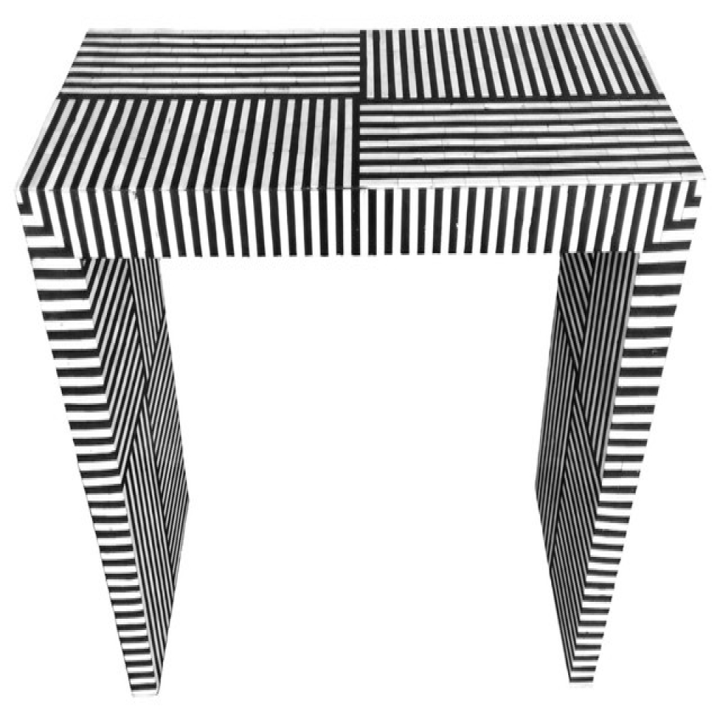 Bone Inlay Console Table Bone Inlay Striped Pattern Console Table Intended For Black And White Inlay Console Tables (View 9 of 20)