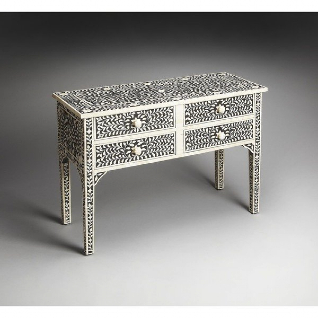 Bone Inlay Console Table Miles Black And White Bone Inlay Console Regarding Black And White Inlay Console Tables (View 13 of 20)