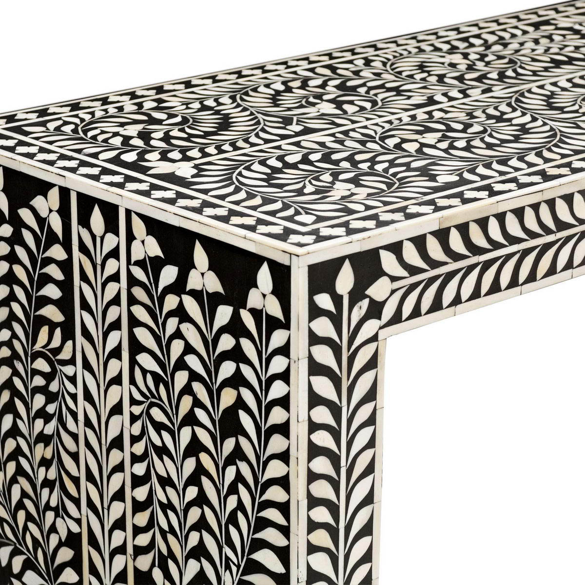 Bone Inlay Console – Vae 1590 – Variety Arts Emporium Pertaining To Black And White Inlay Console Tables (View 3 of 20)