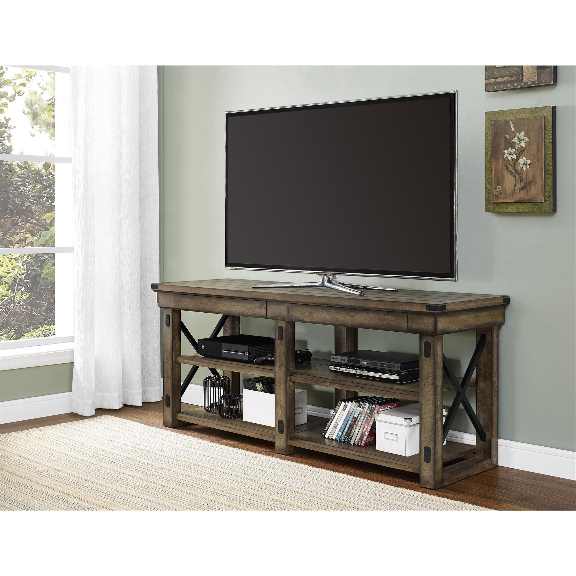 Bring Beauty And Better Organization Into Your Living Room With The Intended For Preston 66 Inch Tv Stands (View 2 of 20)