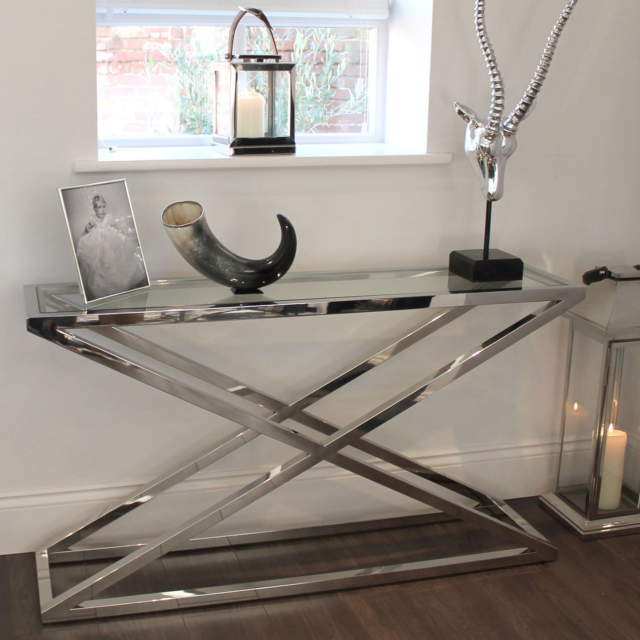 Brooklyn Chunky Chrome & Glass Console Table | Console Tables Regarding Mix Patina Metal Frame Console Tables (View 2 of 20)