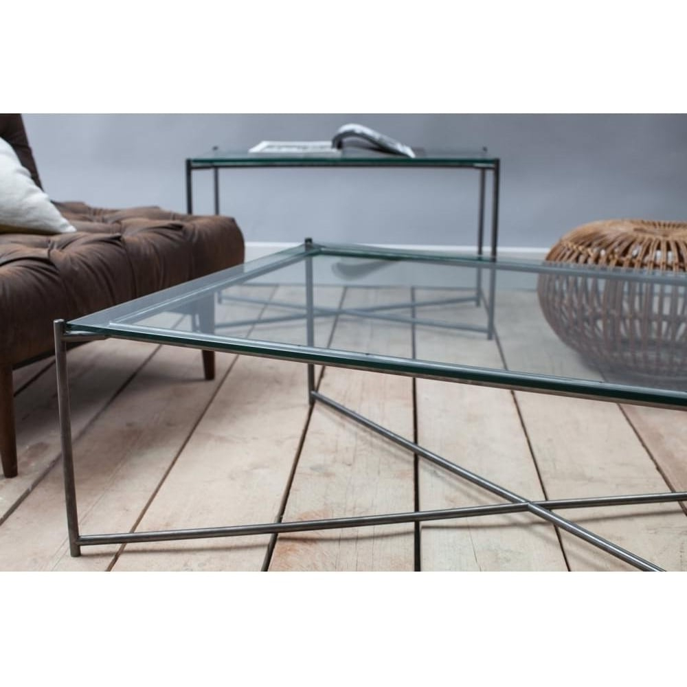 Buy Clear Glass Console Media Table & Gunmetal Base At Fusion Living Regarding Gunmetal Media Console Tables (View 5 of 20)