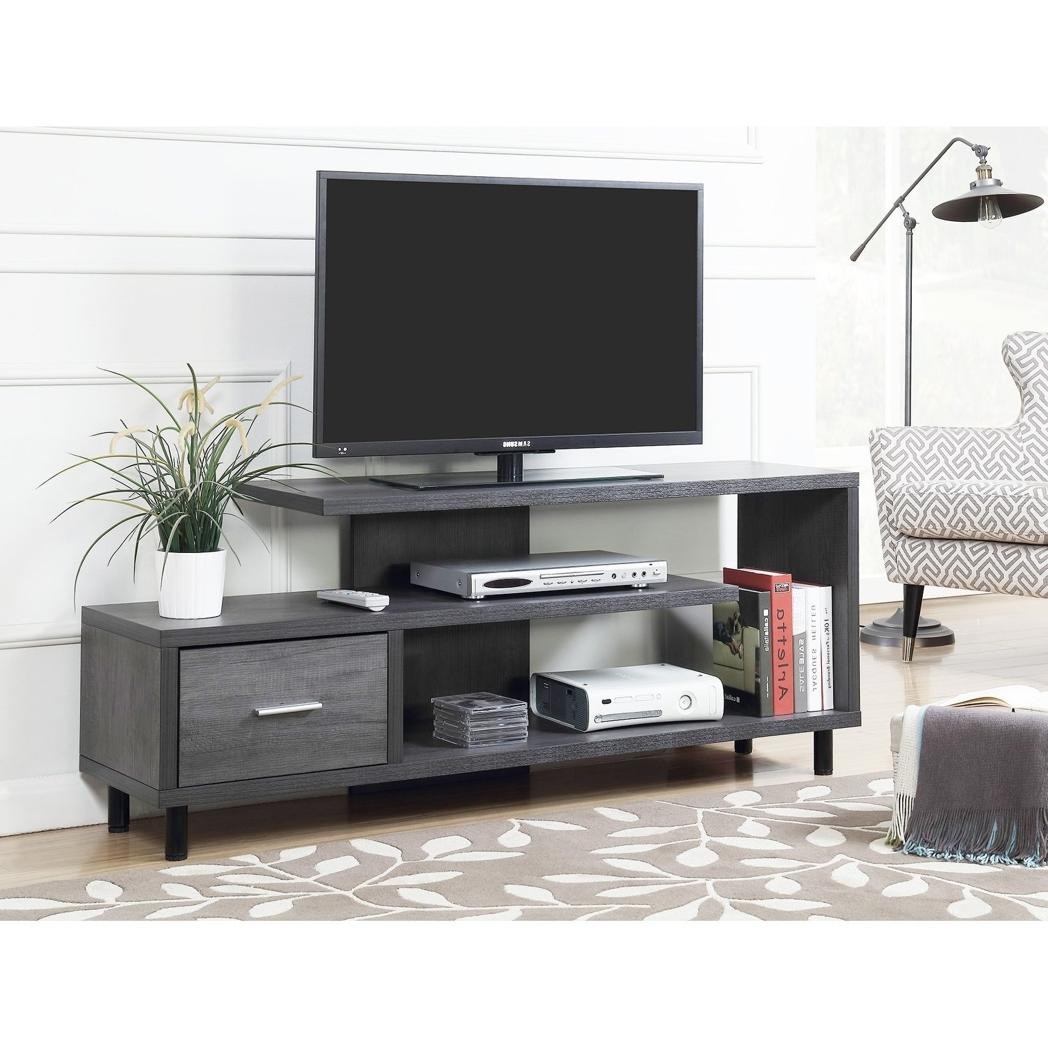 Buy Grey, 42 – 60 Inches Tv Stands & Entertainment Centers Online At In Rowan 45 Inch Tv Stands (Gallery 7 of 20)