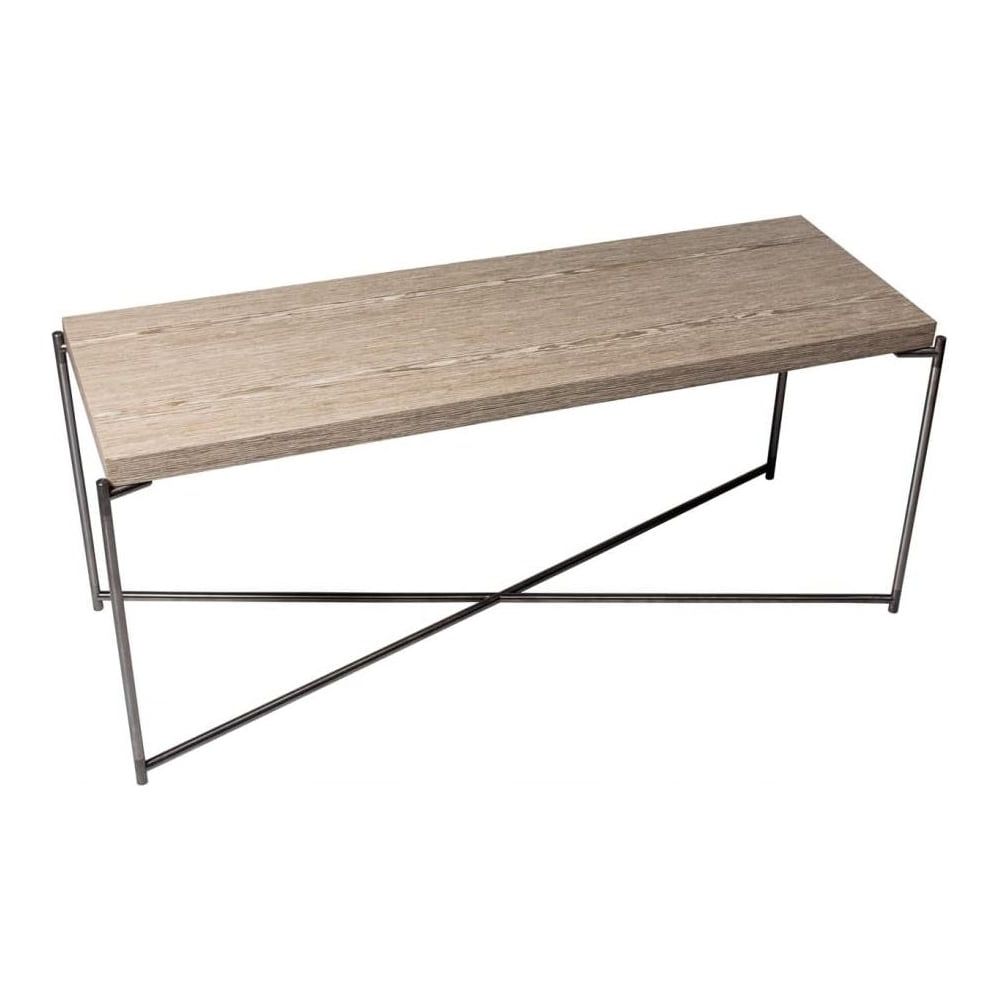 Buy Weathered Oak Console Media Table & Gunmetal Base At Fusion Living Regarding Gunmetal Media Console Tables (View 6 of 20)