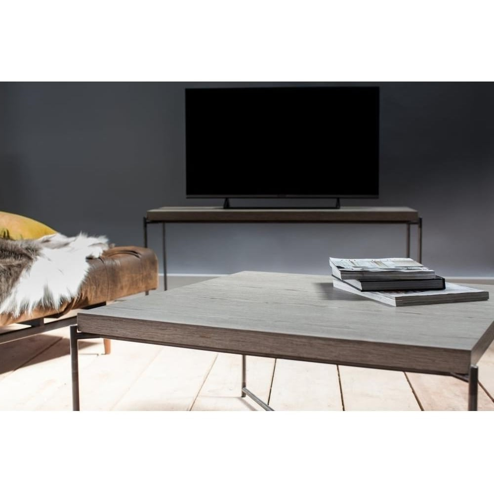 Buy Weathered Oak Console Media Table & Gunmetal Base At Fusion Living With Gunmetal Media Console Tables (View 7 of 20)