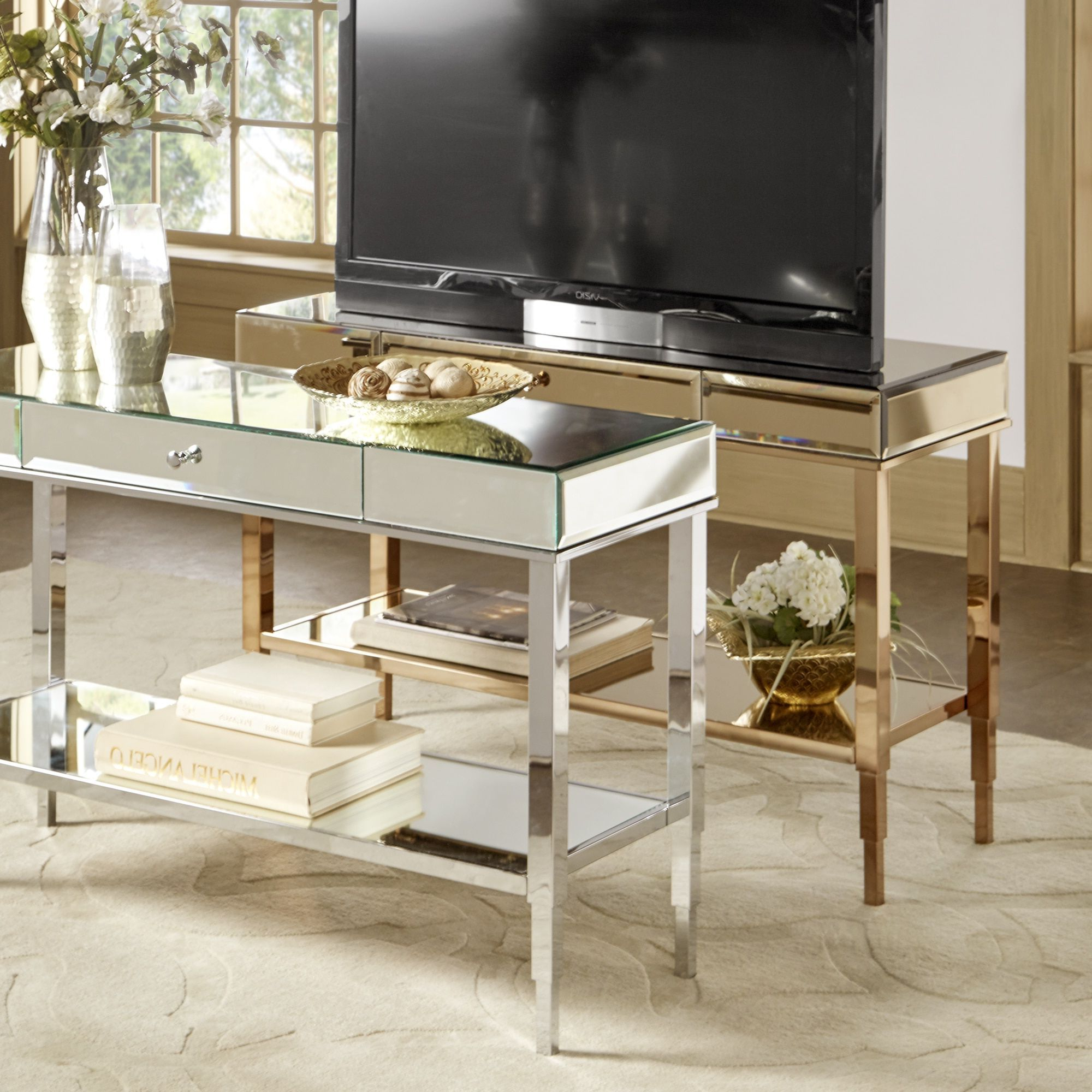 Camille Glam Mirrored Tv Stand Console Table With Drawerinspire Throughout Casey Grey 66 Inch Tv Stands (View 2 of 20)