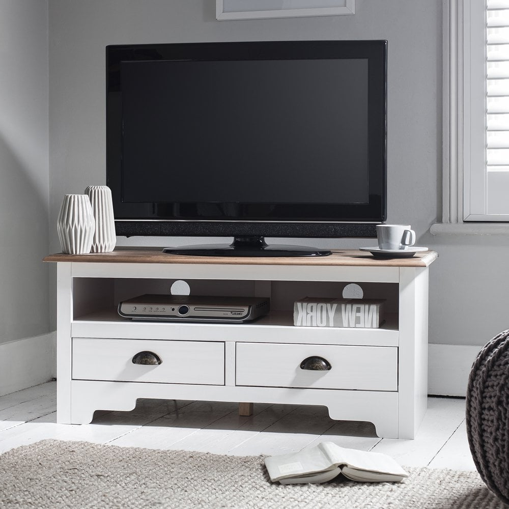 Canterbury Tv Unit In White & Dark Pine | Noa & Nani Within Noah Rustic White 66 Inch Tv Stands (Gallery 14 of 20)
