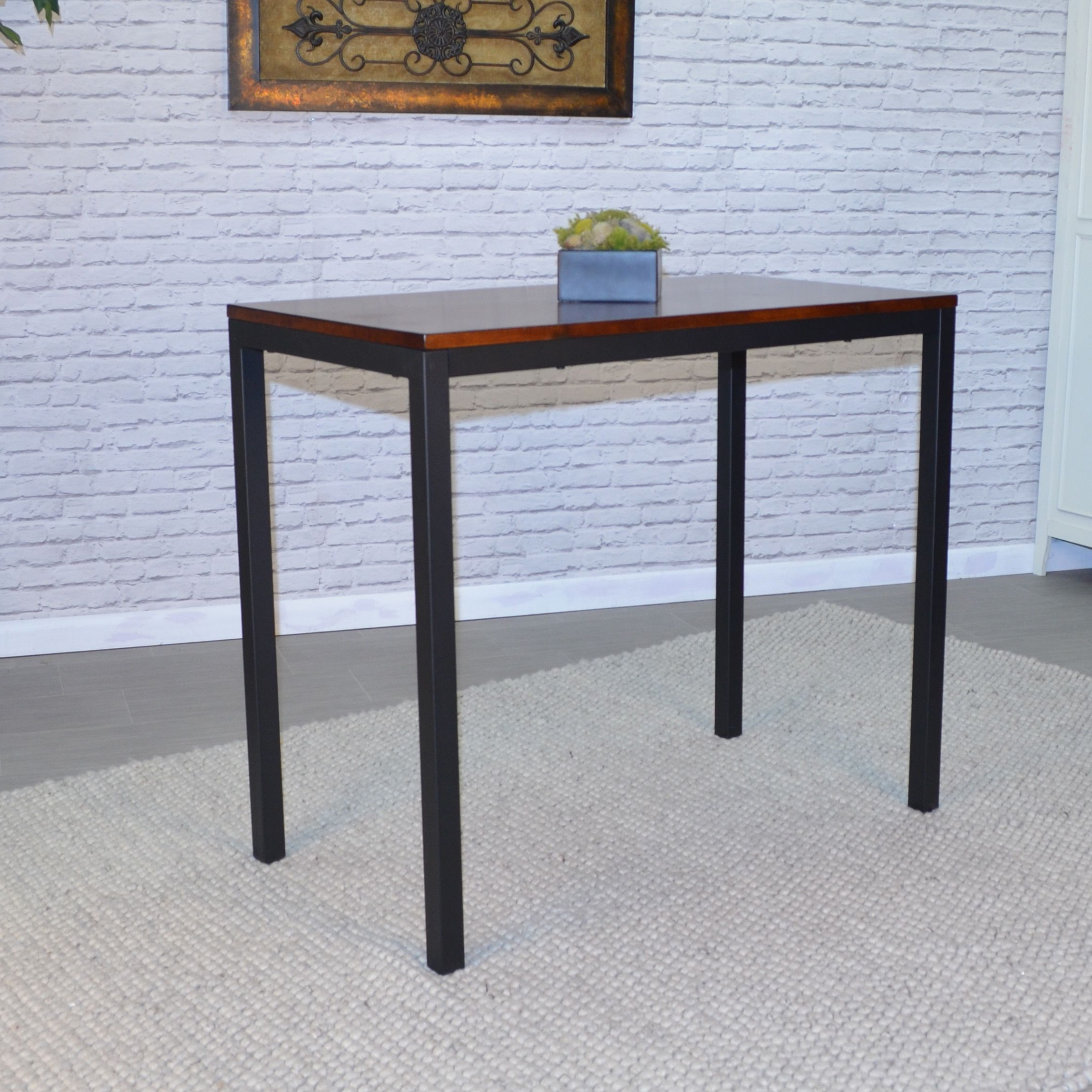 Carolina Silas Metal Bar Table (Chestnut), Black | Products Throughout Parsons Clear Glass Top & Dark Steel Base 48X16 Console Tables (Gallery 6 of 20)