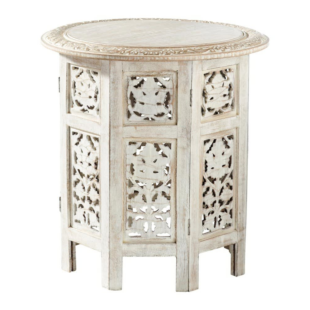 Carved Wood Side Table In Whitewash Finish W 46cm Saranya | Maisons For Hand Carved White Wash Console Tables (View 16 of 20)
