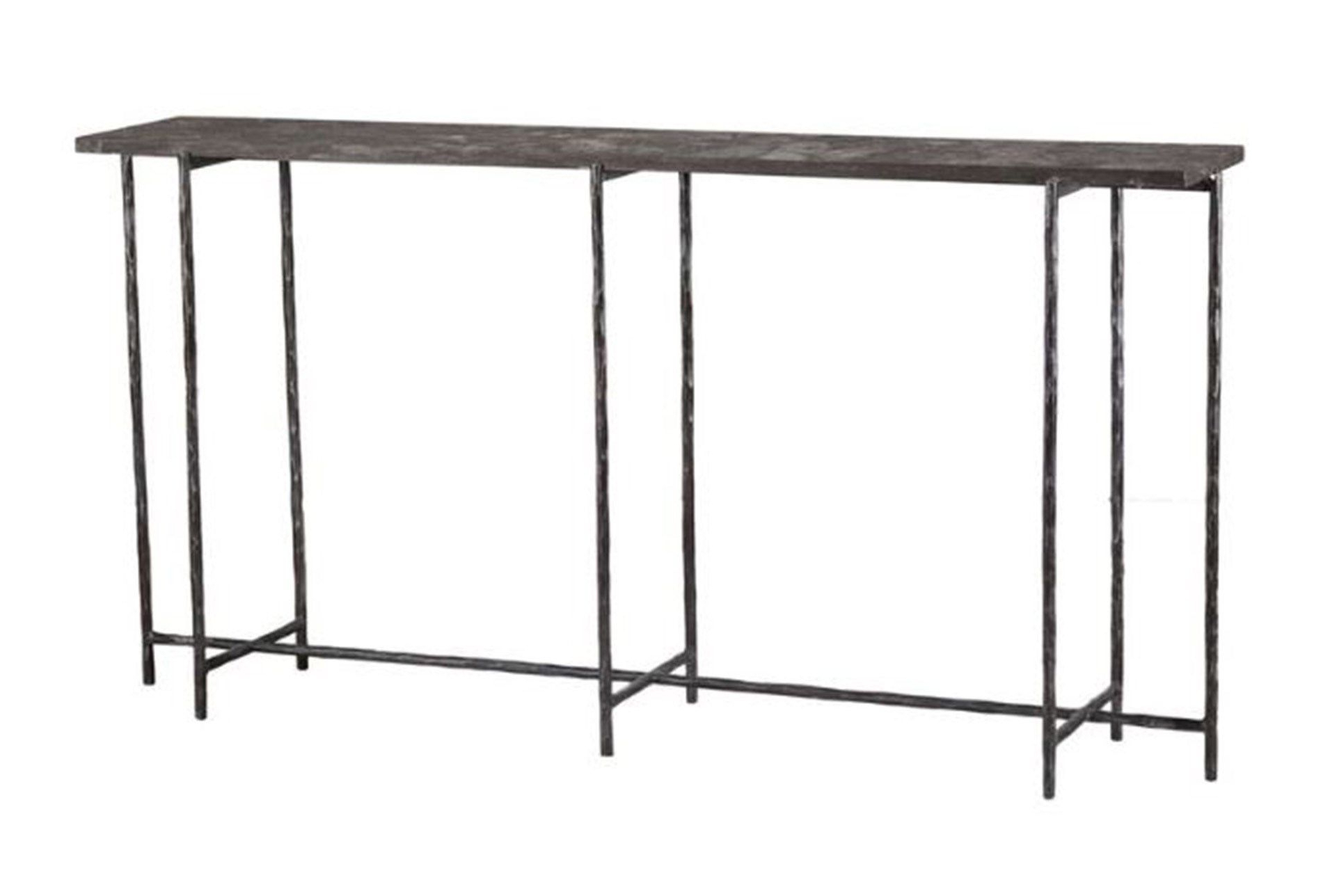 Cast Iron 60 Inch Console Table W/ Stone In 2018 | Tahoe – Living Intended For Silviano 60 Inch Iron Console Tables (View 7 of 20)