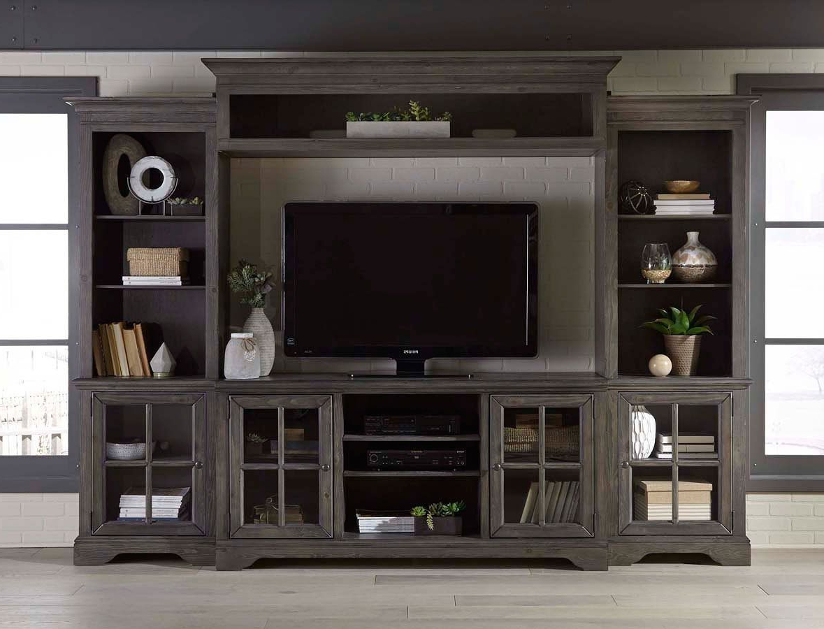 Charcoal Brown 4 Piece Chic Entertainment Center – Dilworth | Home With Regard To Preston 66 Inch Tv Stands (Gallery 6 of 20)