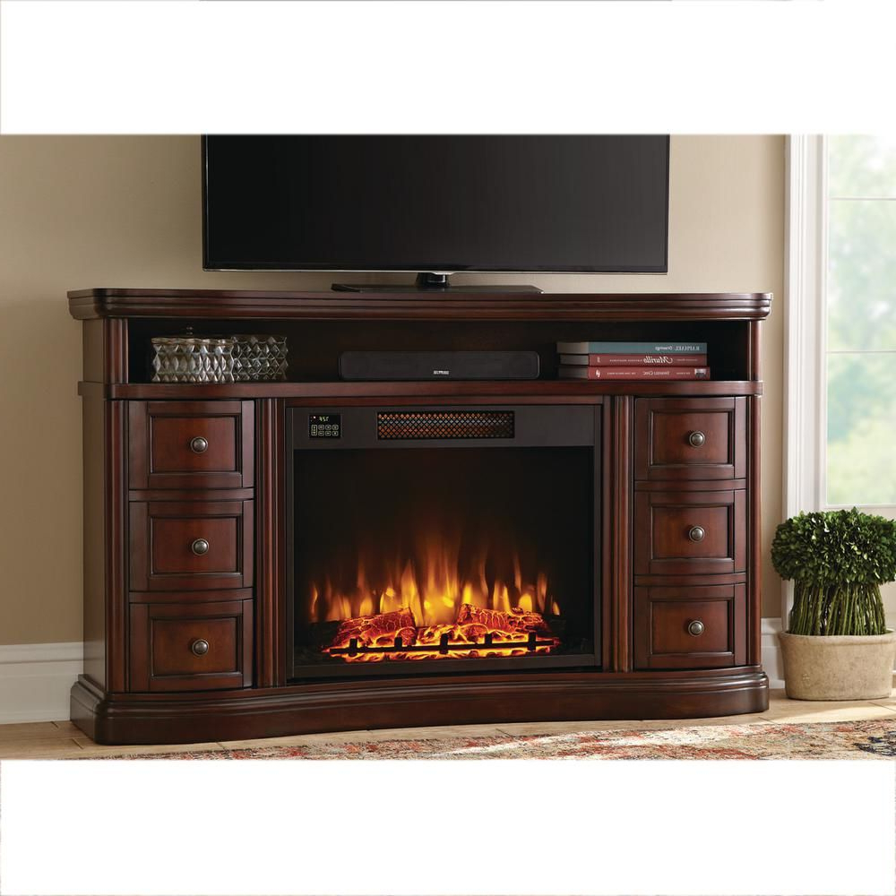 Charleston 60 Inch Tv Stand Electric Fireplace In Brown, Dark Cherry Within Sinclair Blue 54 Inch Tv Stands (View 18 of 20)