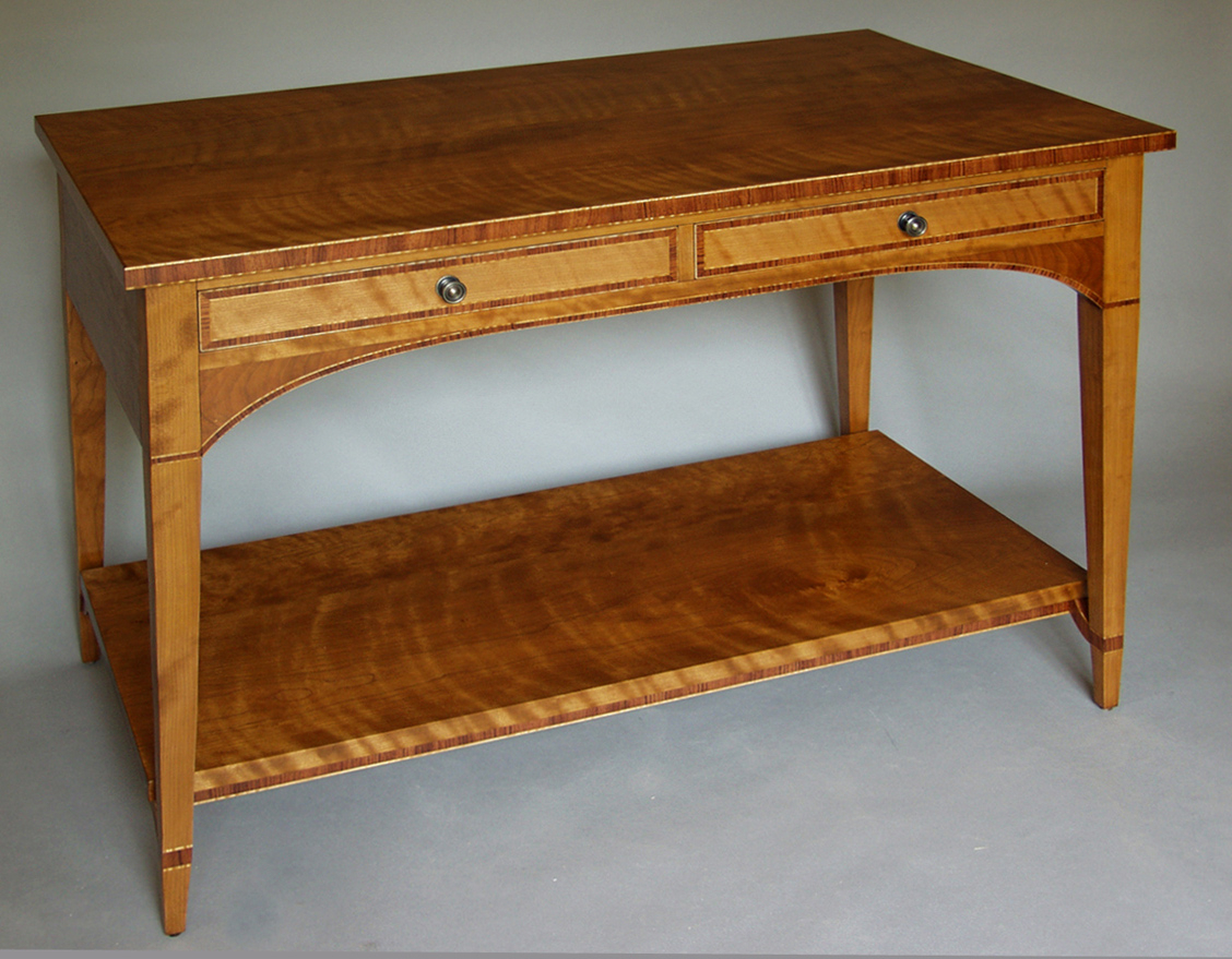 Cherry And Bubinga Console | Dorset Custom Furniture | Dan Mosheim Intended For Orange Inlay Console Tables (Gallery 7 of 20)