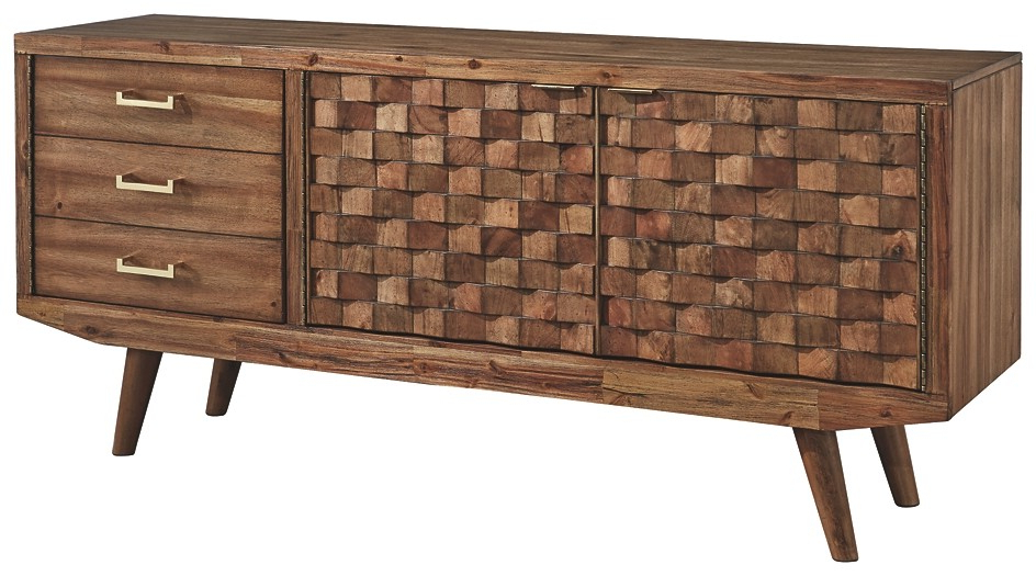 Chiladda – Warm Brown – Extra Large Tv Stand | W673 68 | Tv Stand With Regard To Wyatt 68 Inch Tv Stands (View 7 of 20)