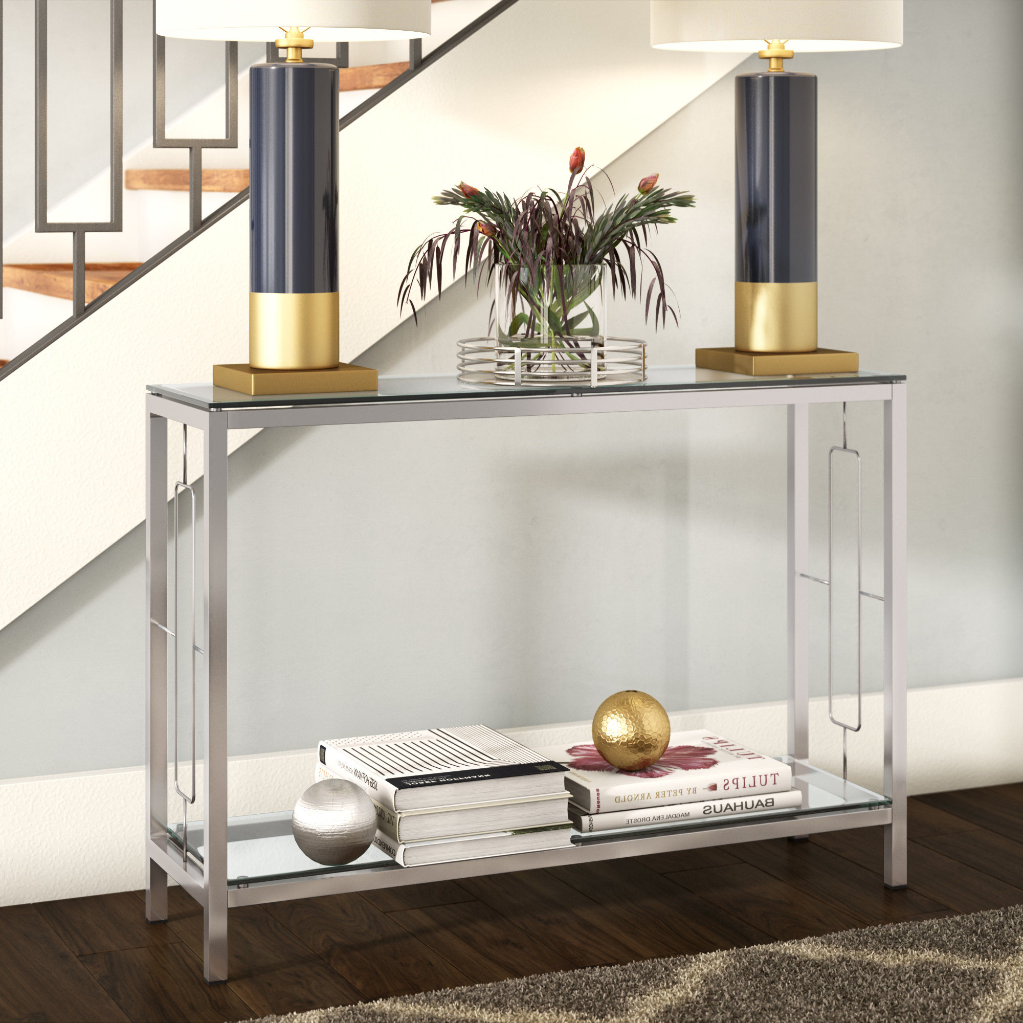 Chrome Console Tables You'll Love | Wayfair Regarding Natural Wood Mirrored Media Console Tables (View 20 of 20)