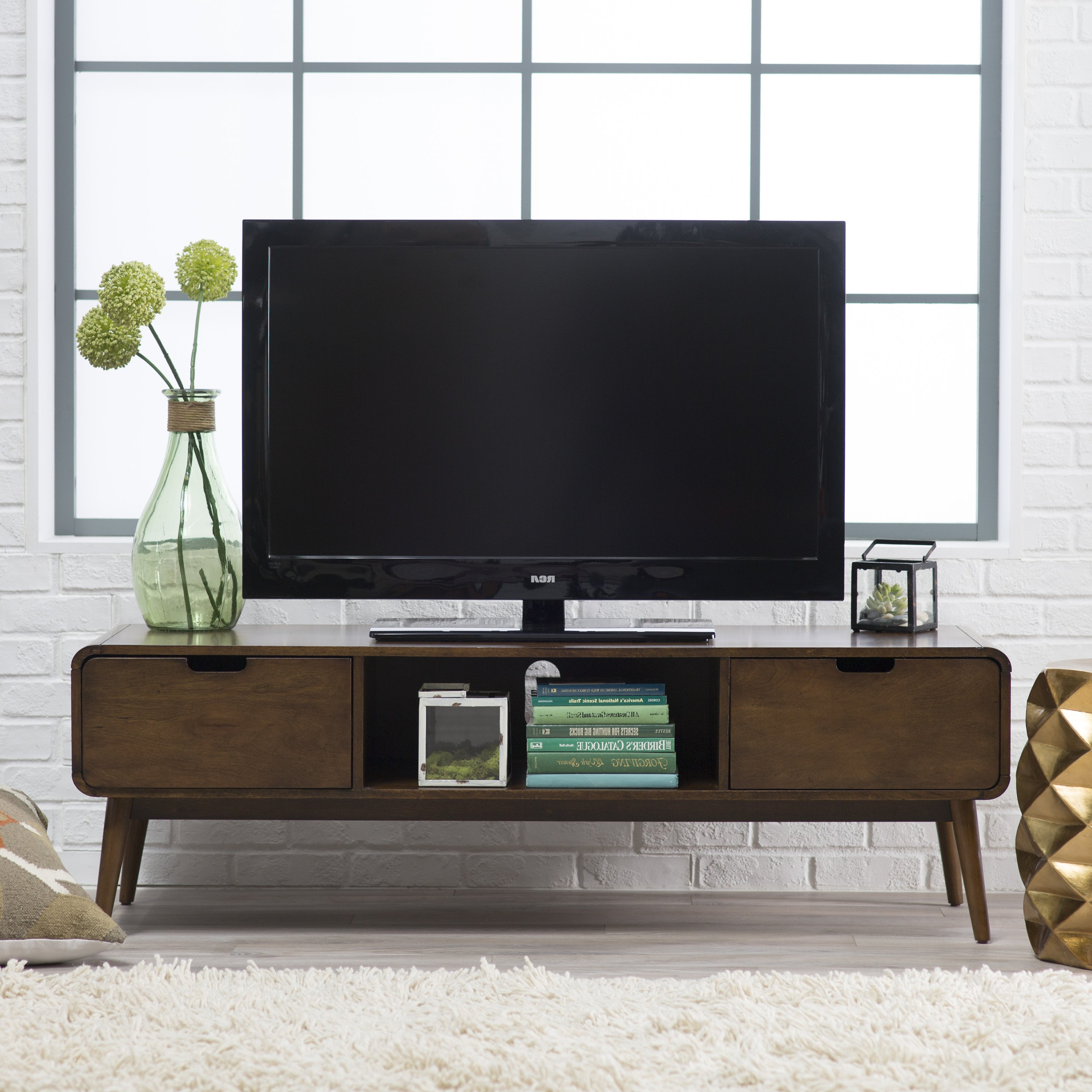 Console Ana Flat Entertainment White Wall Red Mount Stand Above Intended For Century White 60 Inch Tv Stands (Gallery 4 of 20)