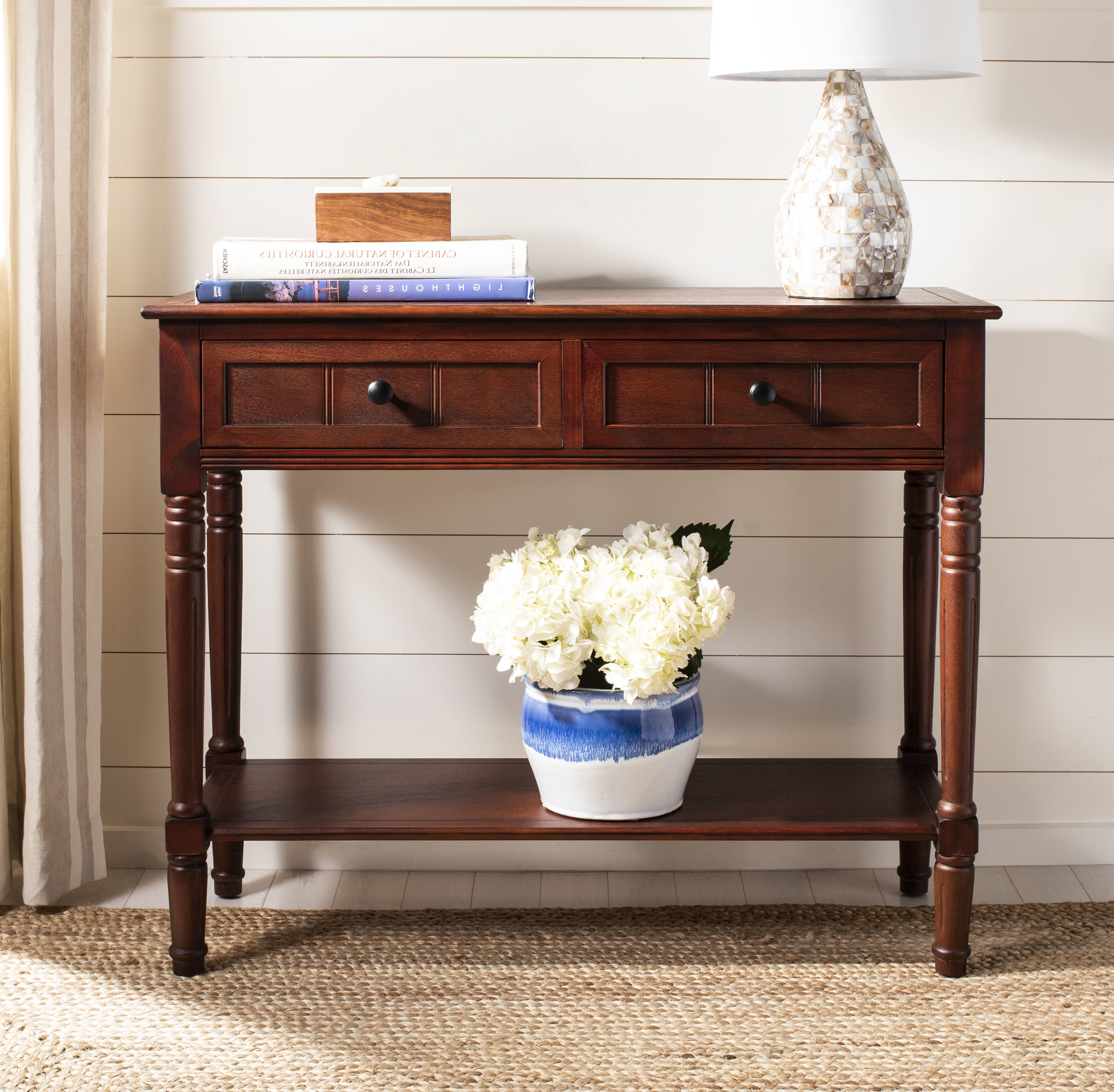 Console Table With 2 Shelves | Wayfair With Natural Wood Mirrored Media Console Tables (View 15 of 20)