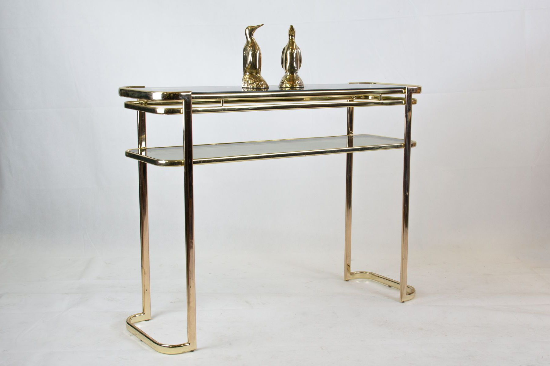 Console Table With Brass Frame & Glass Topmilo Baughman For Within Era Glass Console Tables (Gallery 8 of 20)