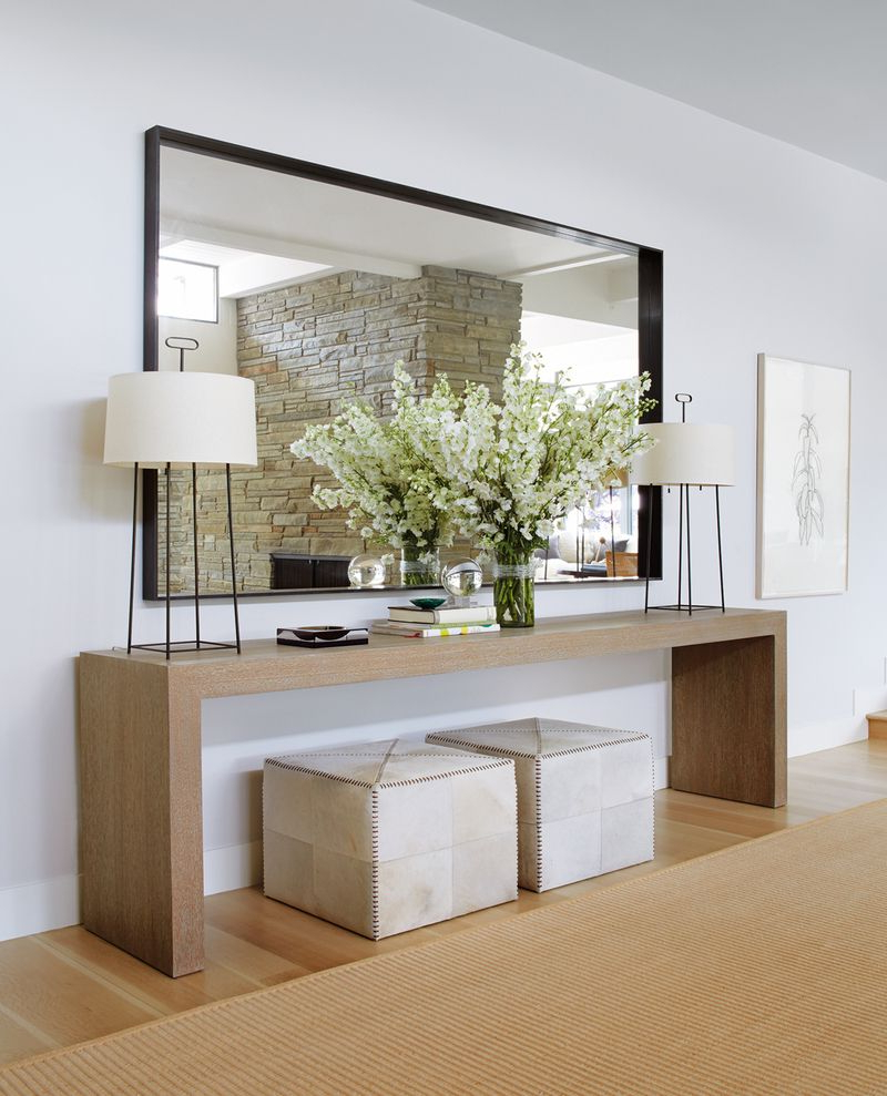 Contemporary Entry And Hall In Southampton, Nytimothy Whealon For Natural Wood Mirrored Media Console Tables (View 13 of 20)