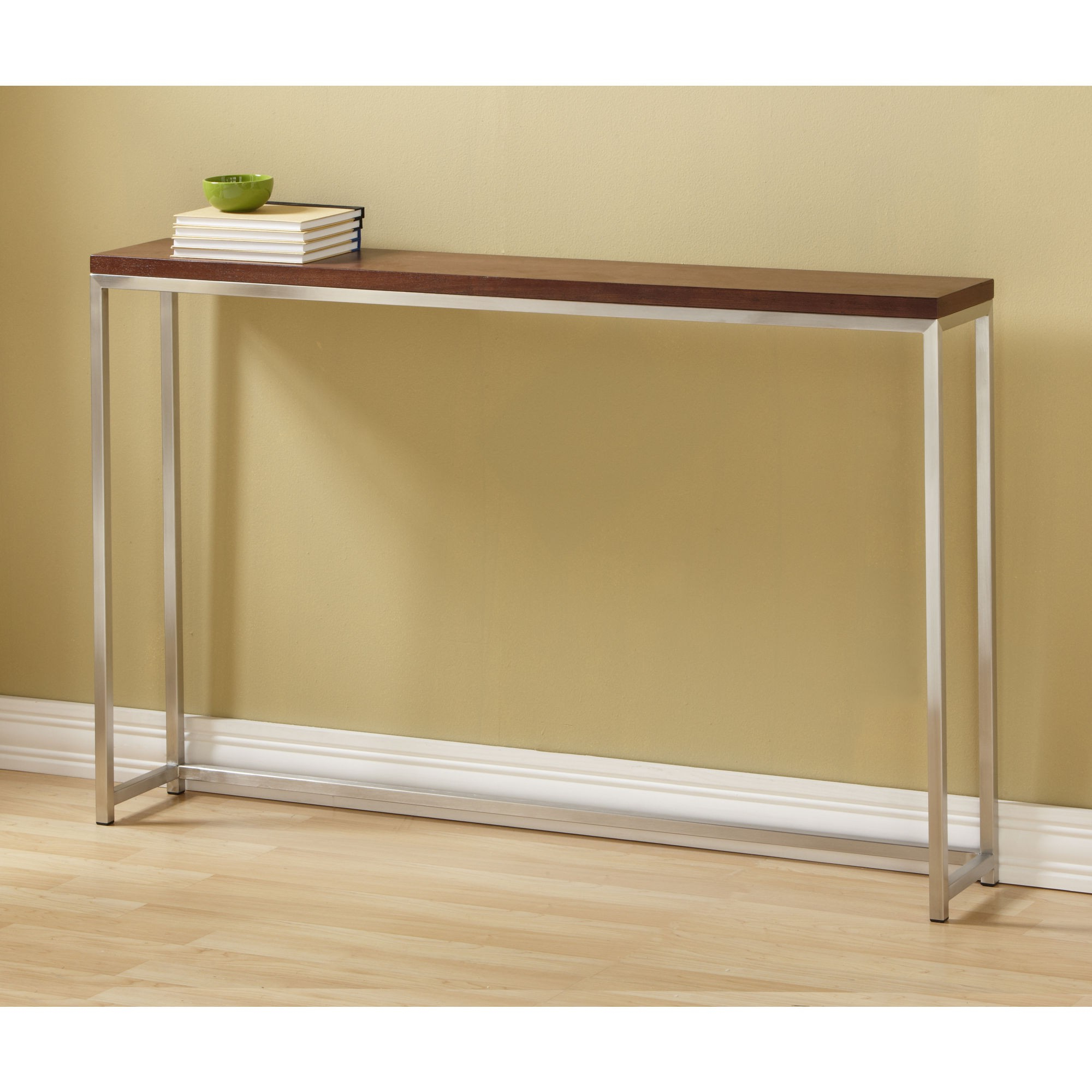 Contemporary Tall Console Table Coe With Varnished Wooden Top And With Frame Console Tables (View 7 of 20)