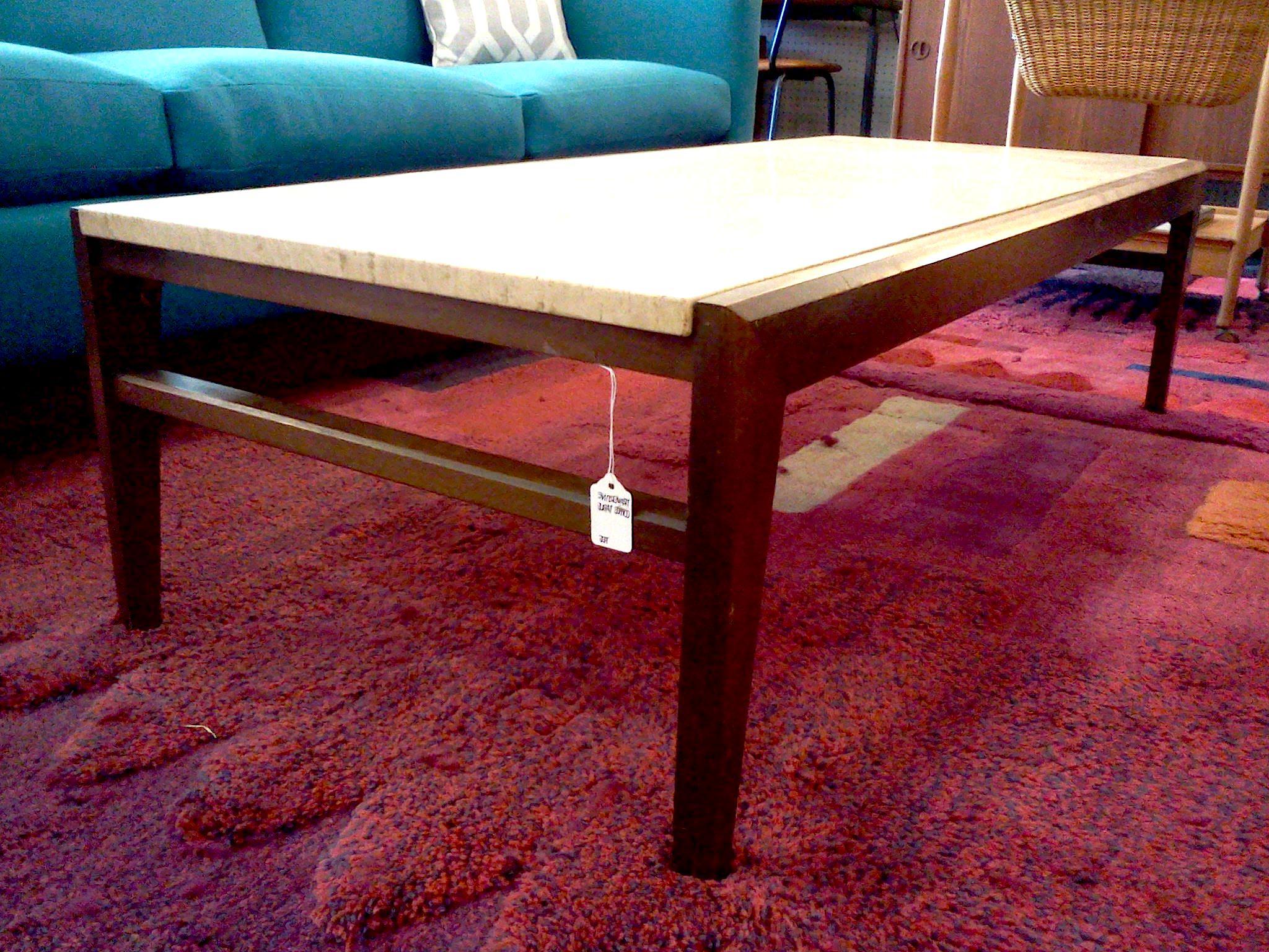 Contemporary Travertine Coffee Table Sushi Ichimura Decor Parsons Regarding Parsons Travertine Top & Elm Base 48x16 Console Tables (View 17 of 17)
