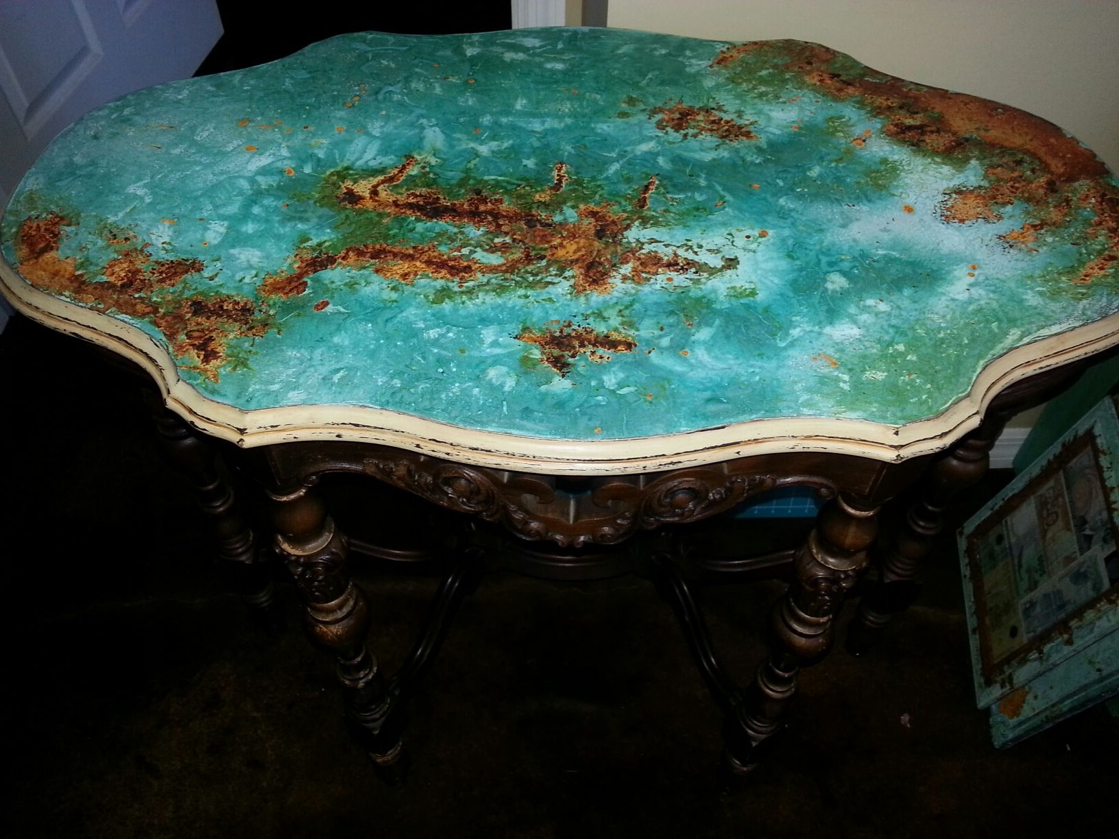 Copper/ Rust Patina Table Top With Modern Master Metal Effects Inside Mix Patina Metal Frame Console Tables (View 15 of 20)