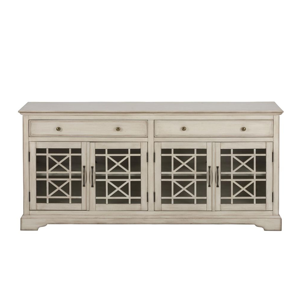 """Craftsman Antique 70"""" Tv Stand Media Unit W/ Distressed Cream Finish Inside Annabelle Cream 70 Inch Tv Stands (View 8 of 20)"""