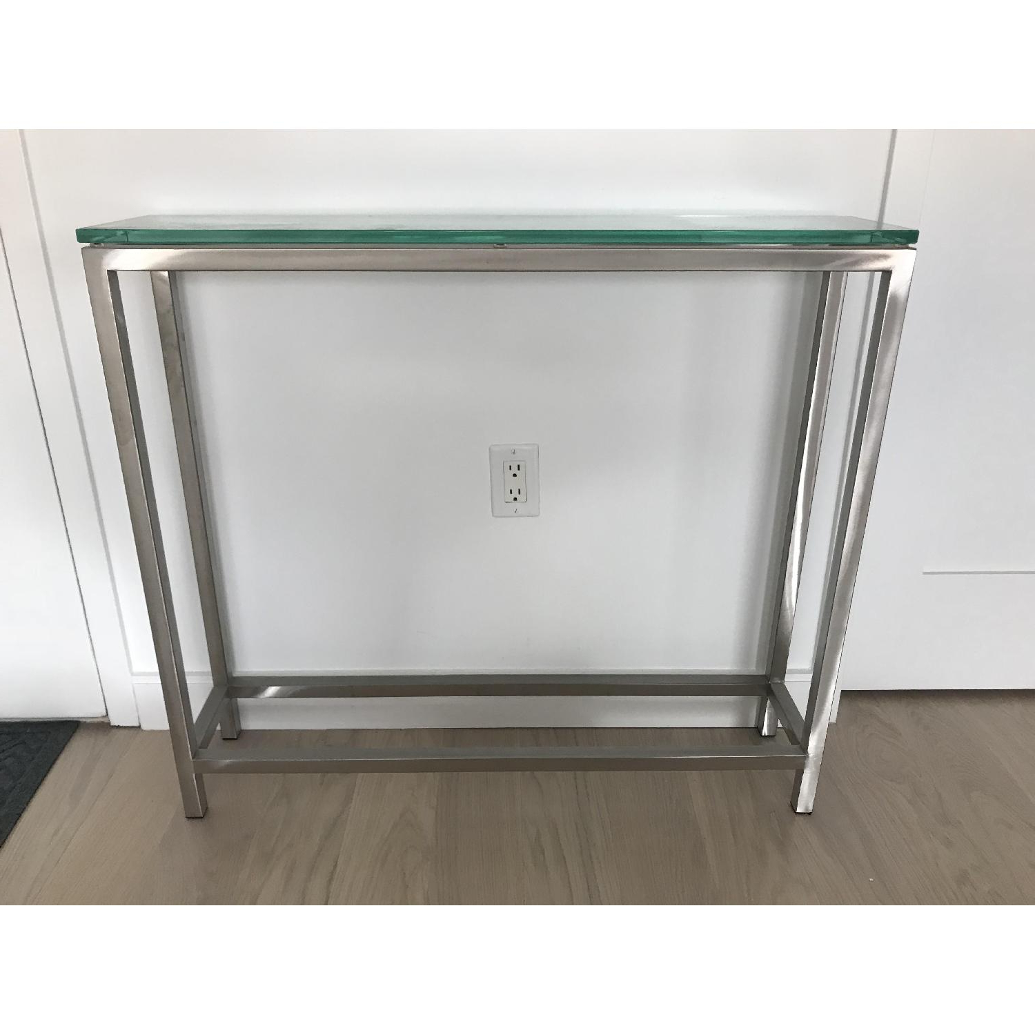Crate & Barrel Era Glass Console Table – Aptdeco Throughout Era Glass Console Tables (View 9 of 20)