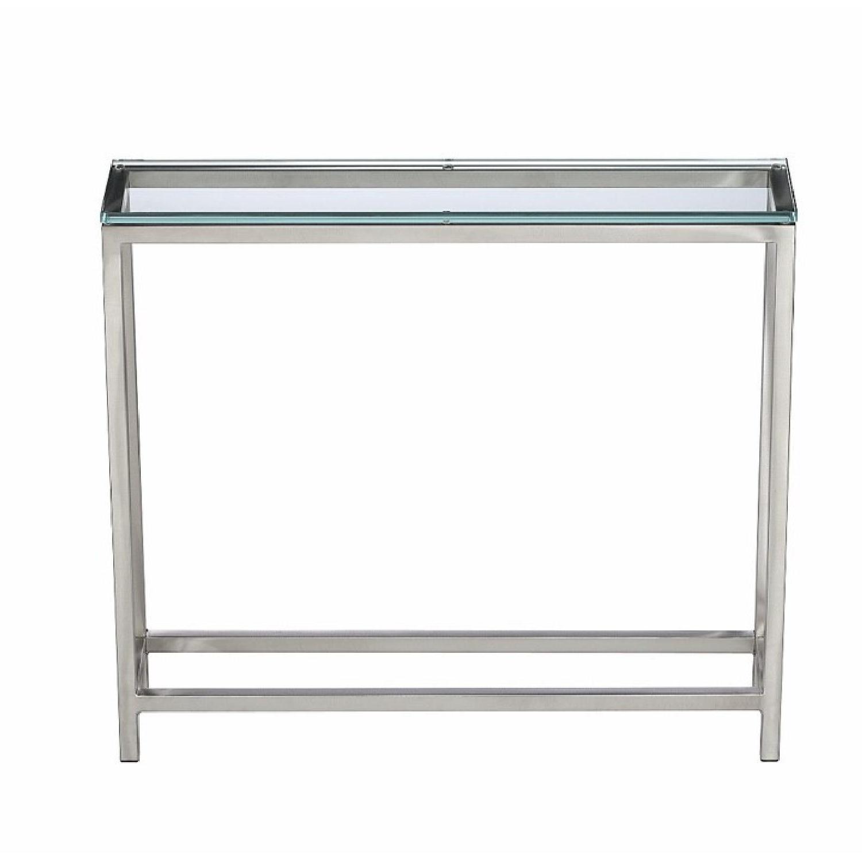 Crate & Barrel Era Glass Console Table – Aptdeco Within Era Glass Console Tables (View 10 of 20)