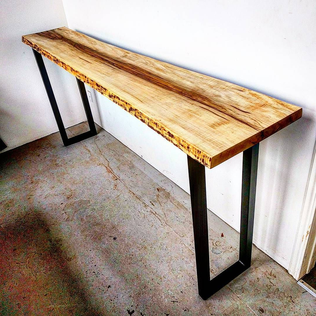 Curly Maple Live Edge Console Table On Raw Steel Legs For Yukon Natural Console Tables (View 4 of 20)