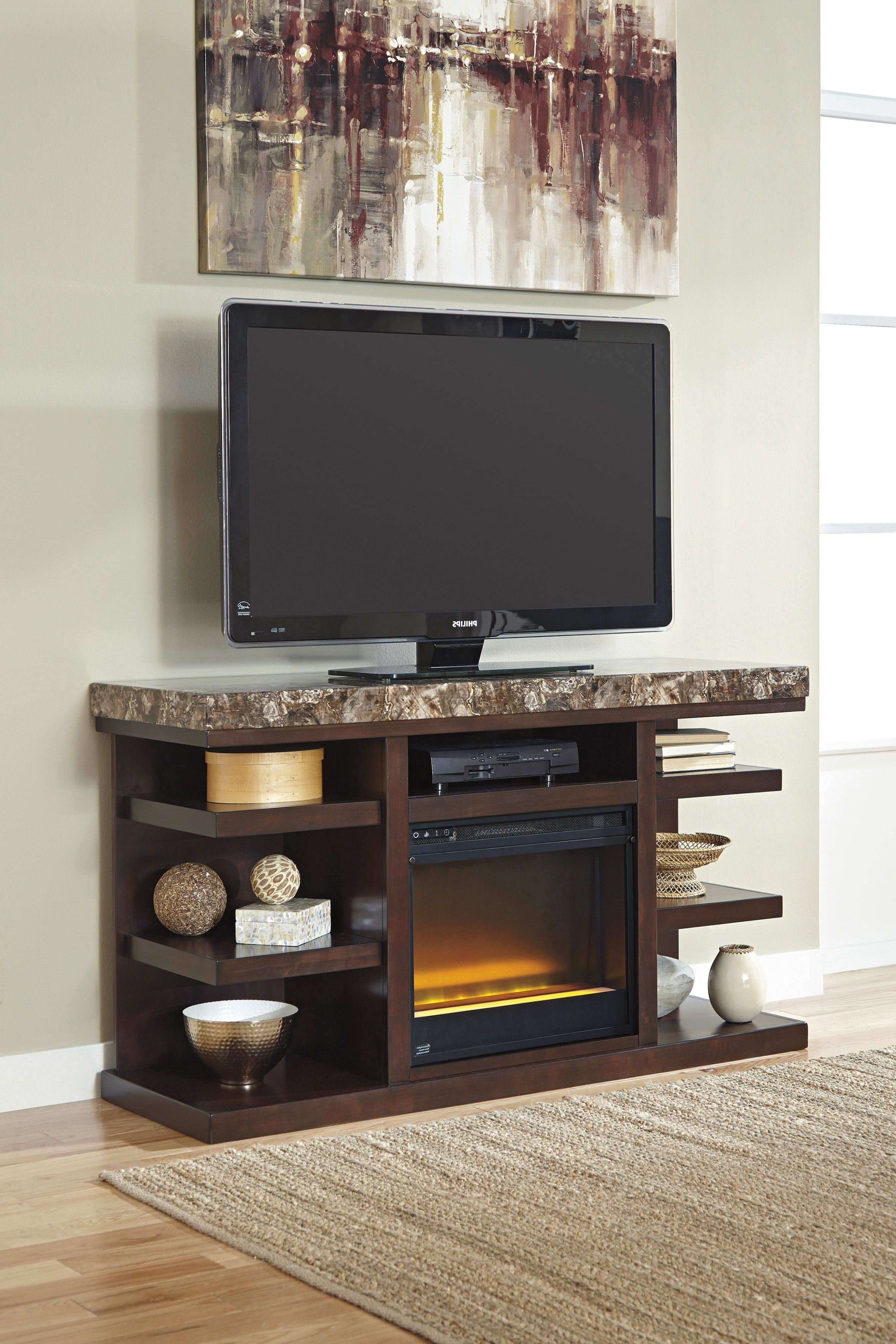Dark Brown Lg Tv Stand With Glass/stone Fireplace | Projects To Try Intended For Edwin Black 64 Inch Tv Stands (Gallery 1 of 20)