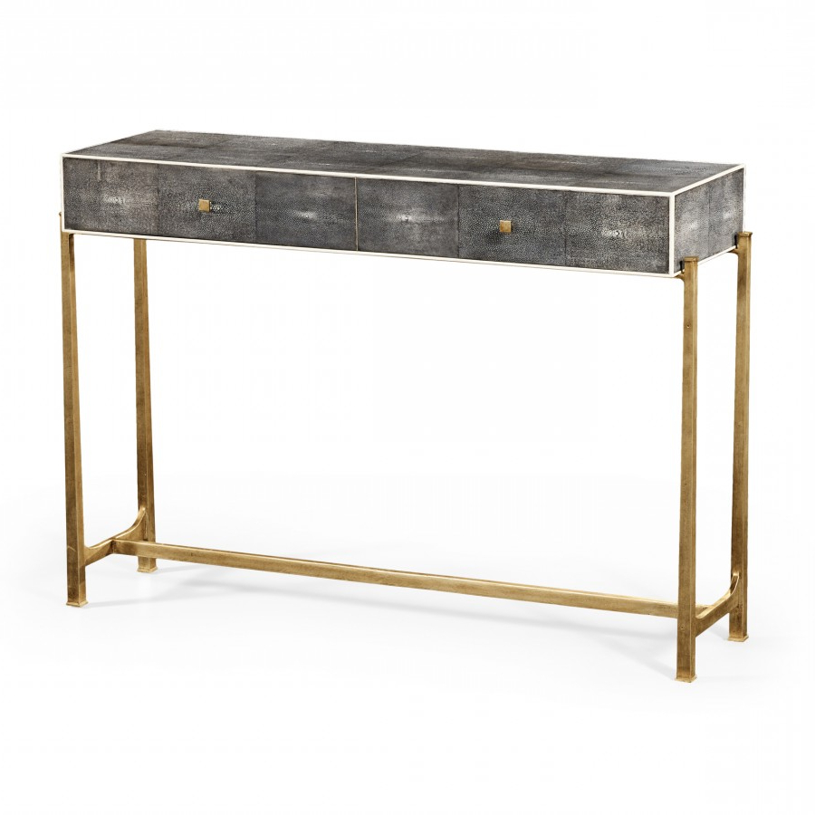 Decor Market – Faux Anthracite Shagreen Console Table With Gilt Base Within Faux Shagreen Console Tables (View 2 of 20)