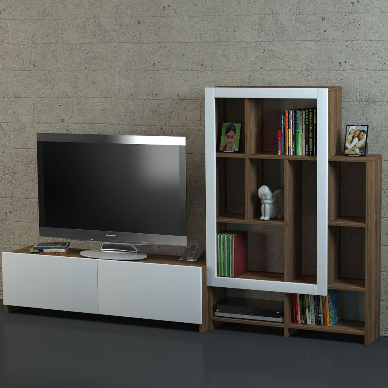 Dekorister Parea Tv Ünitesi Beyaz Ceviz | Dekorazon In Ducar 74 Inch Tv Stands (View 6 of 20)