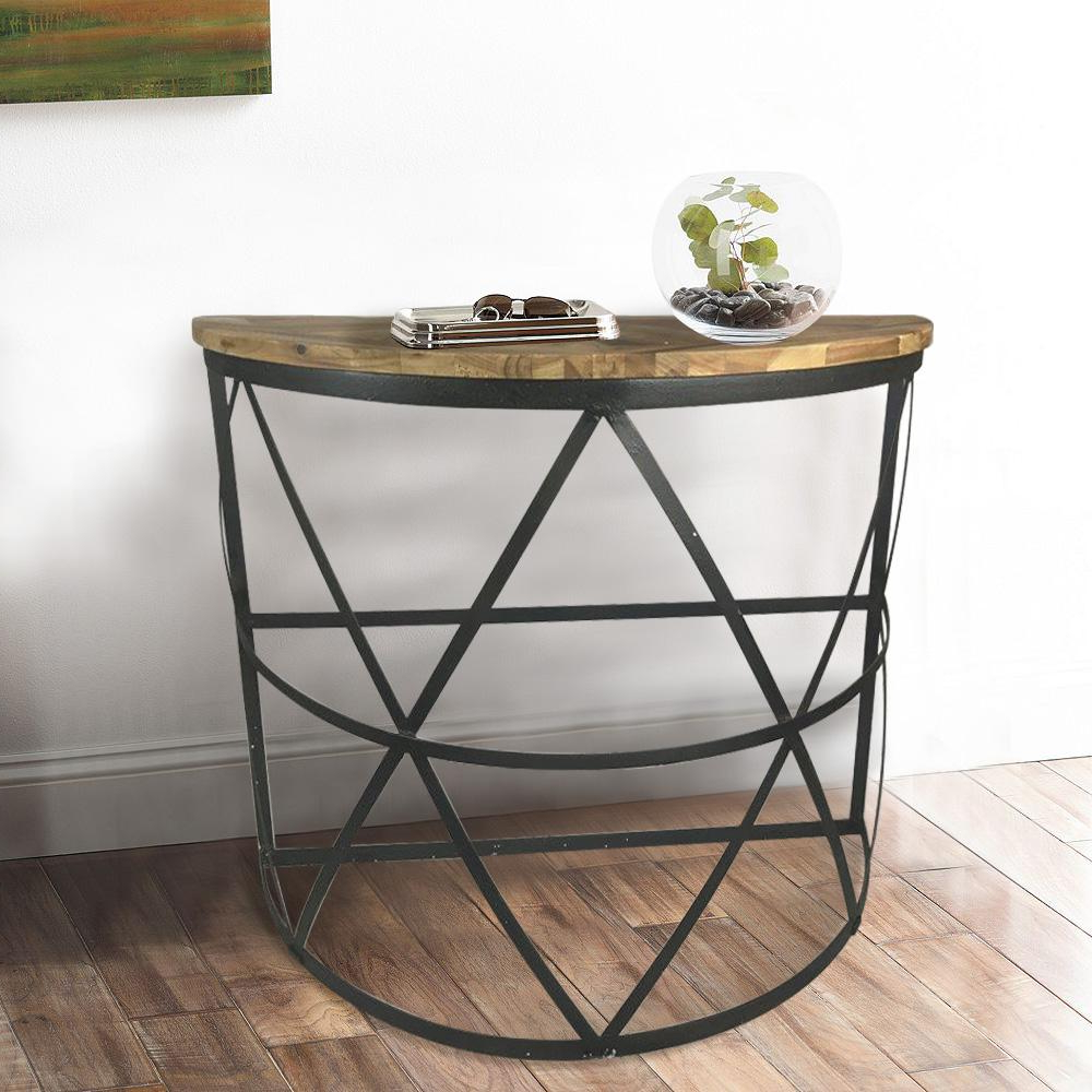 Demilune Console Table In Industrial Reclaimed Wood Dmt The Home Throughout Clairemont Demilune Console Tables (View 19 of 20)