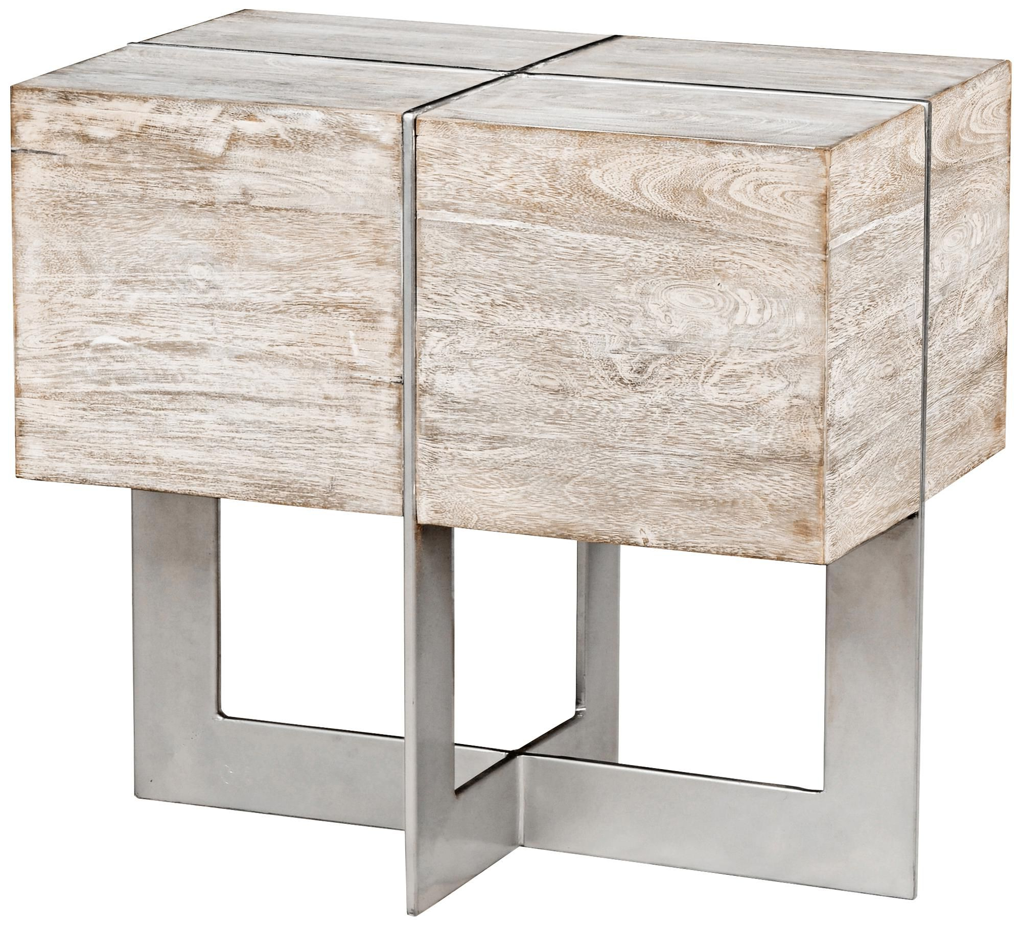Desmond White Wash Solid Mango Wood Block End Table | Home Accents In Parsons Walnut Top & Dark Steel Base 48X16 Console Tables (View 5 of 20)