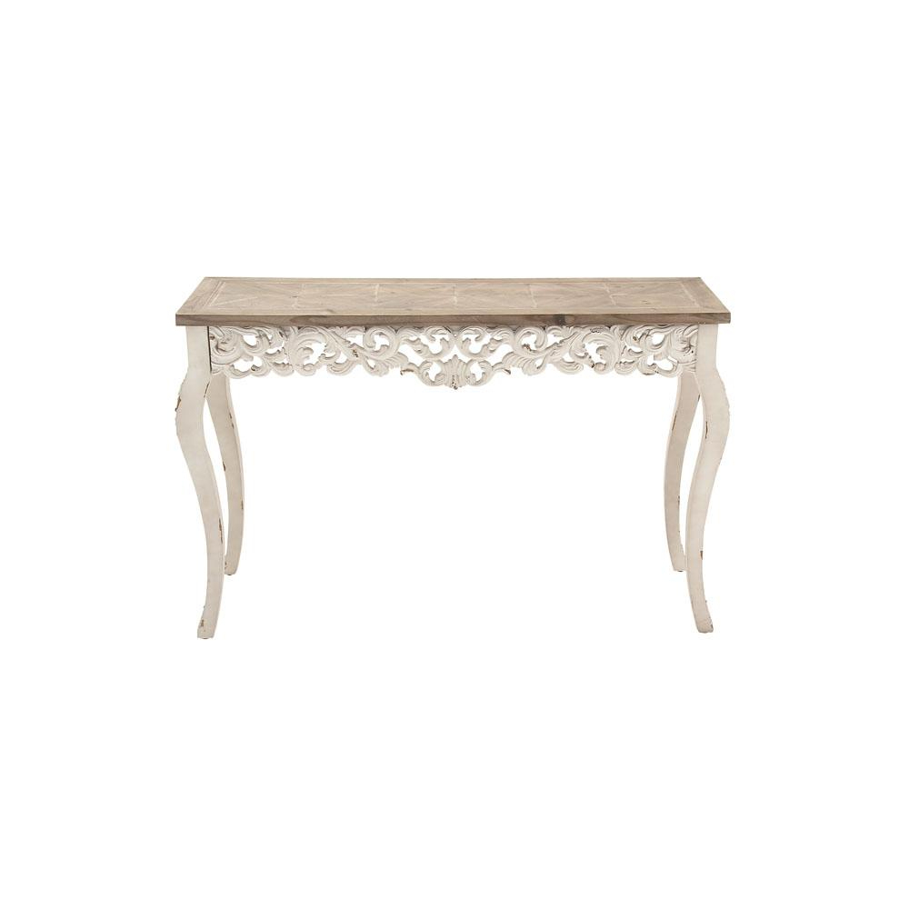 Distressed Antique White And Taupe Rectangular Parisian Inspired With Antique White Distressed Console Tables (View 3 of 20)